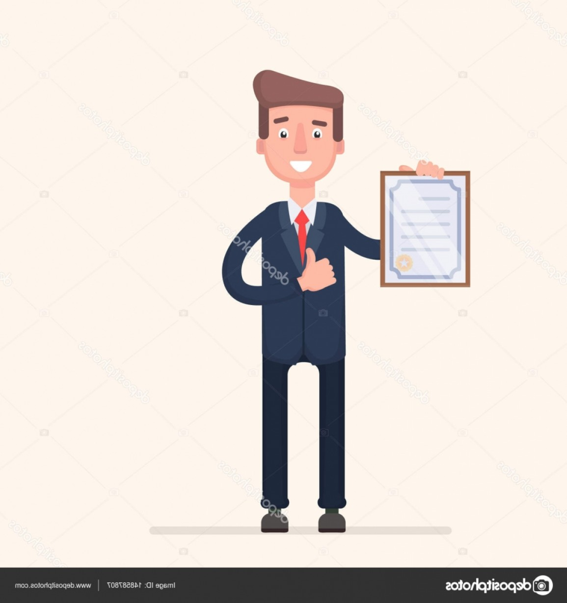 Standing Diploma Vector: Stock Illustration Standing Business Man Holding Certificate