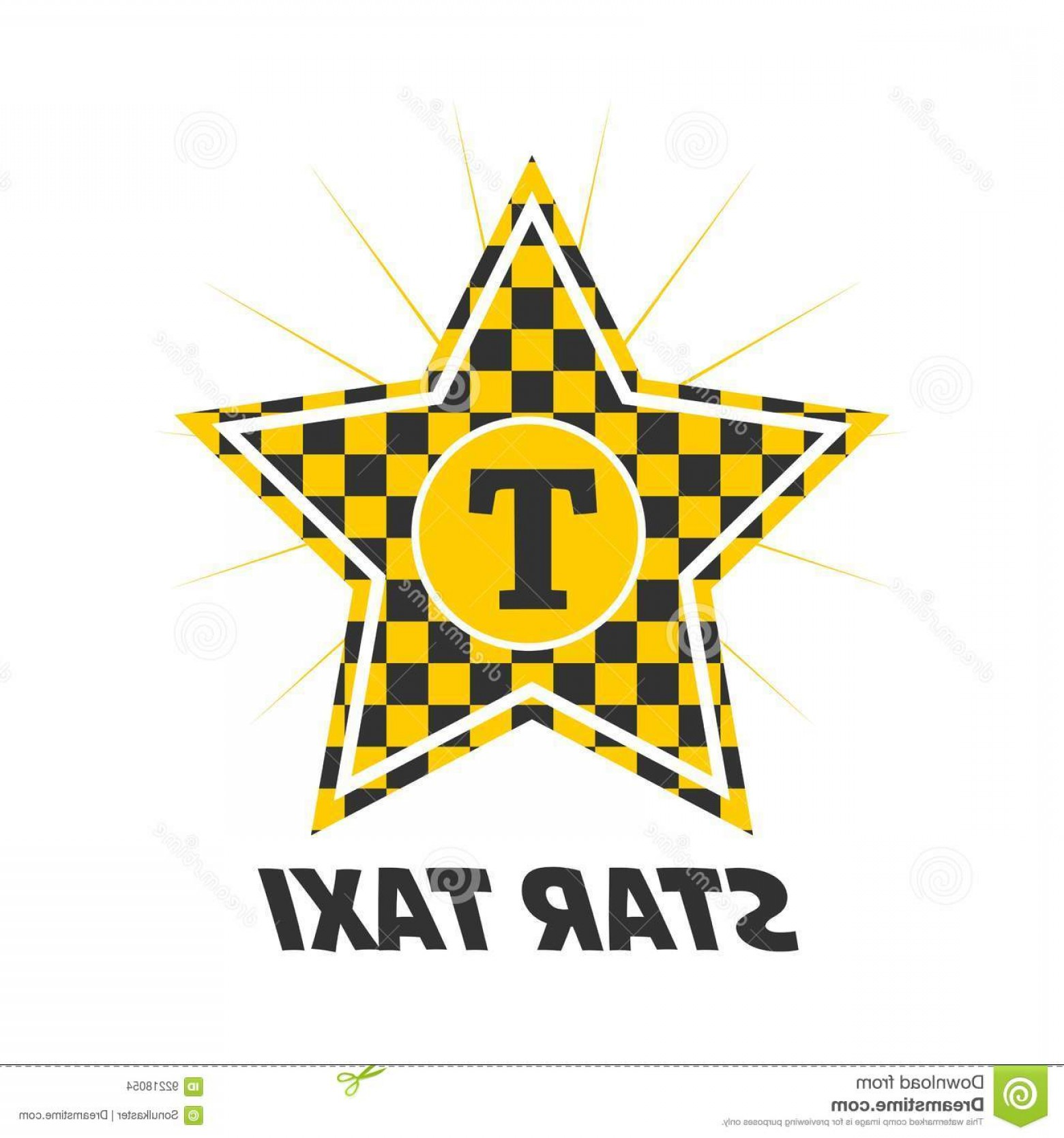 Taxi Checkers Vector: Stock Illustration Star Taxi Logotype Checker Yellow Black Colors Isolated White Vector Illustration Flat Design Delivery Image