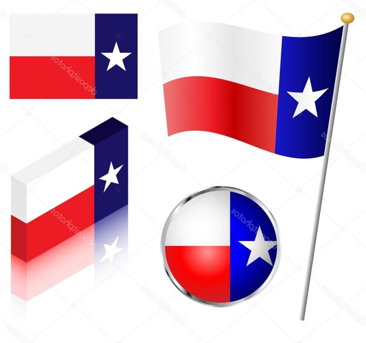 Texas Flag Vector Art: Stock Illustration State Of Texas Flag Set