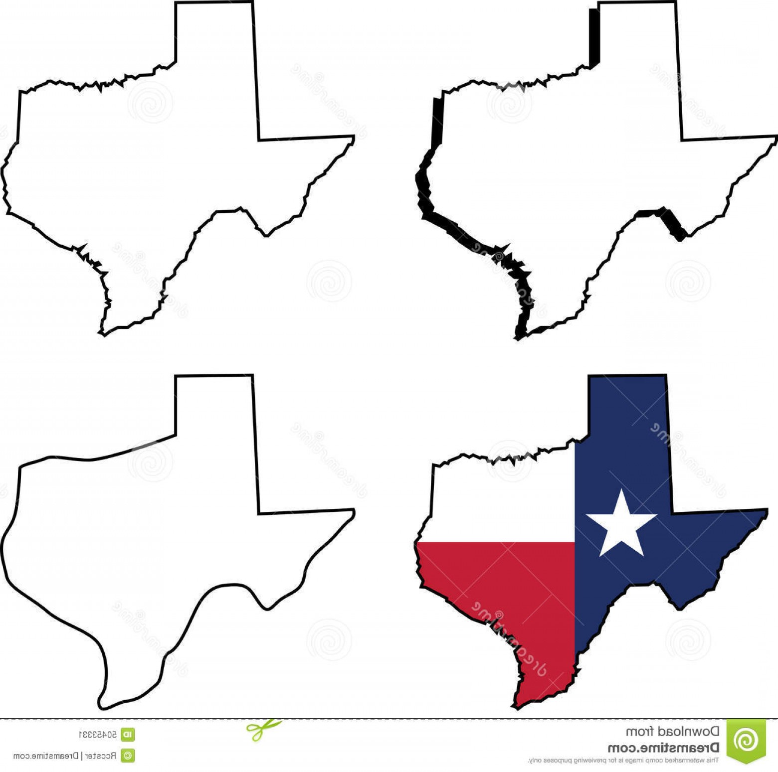 Texas Vector Drawing: Stock Illustration State Texas Outlined Set Different Versions Vector Illustration Image
