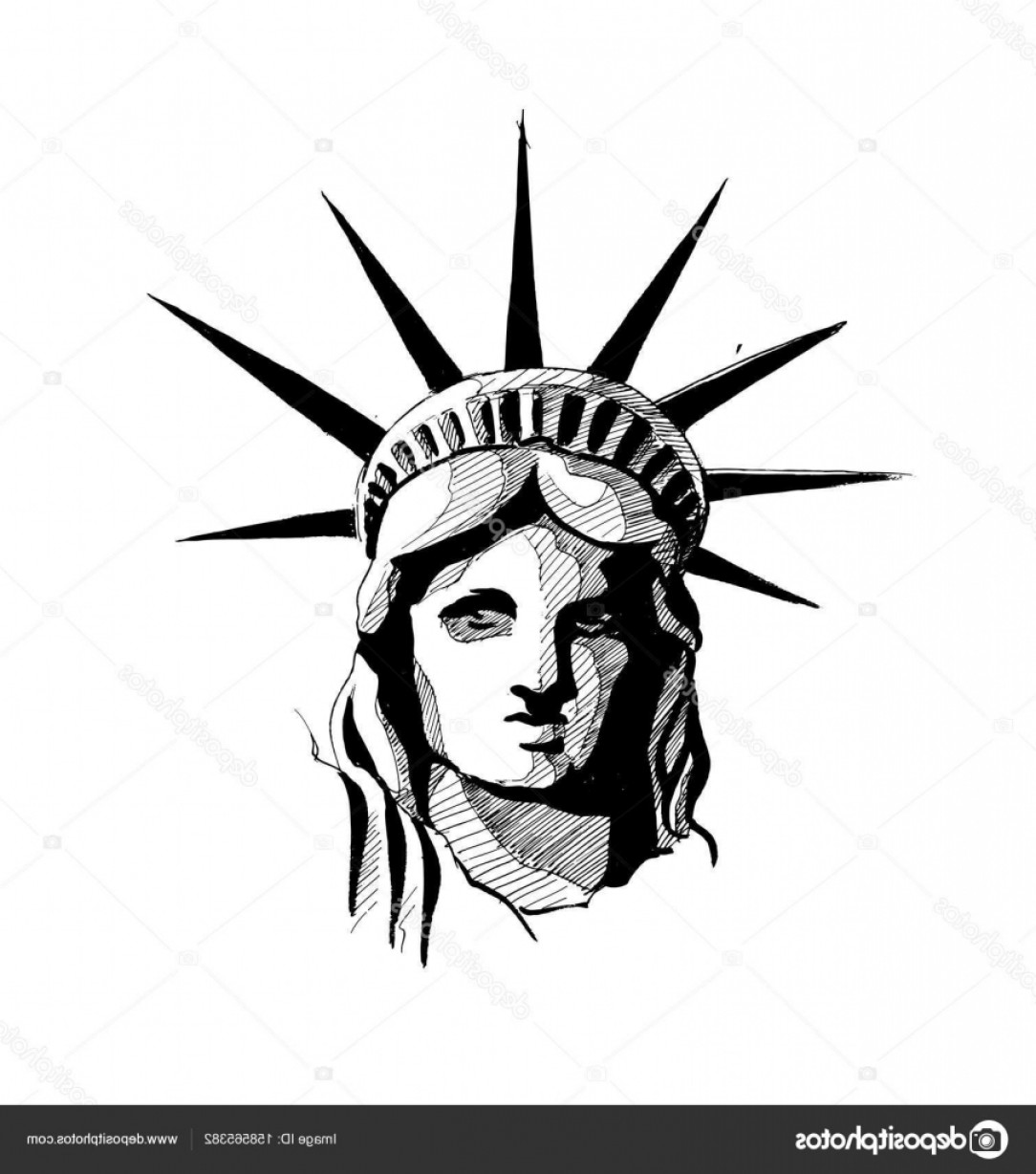 Statue Of Liberty Face Vector: Stock Illustration Statue Of Liberty Hand Drawn