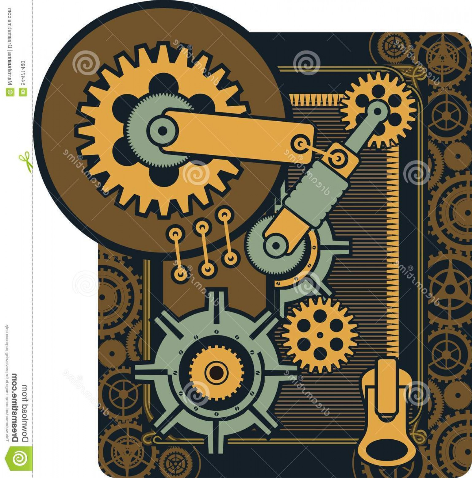 Vector Mechanical Clock Wheels: Stock Illustration Steampunk Mechanism Vector Mechanical Elements Rotating Parts Rectangular Shape Image