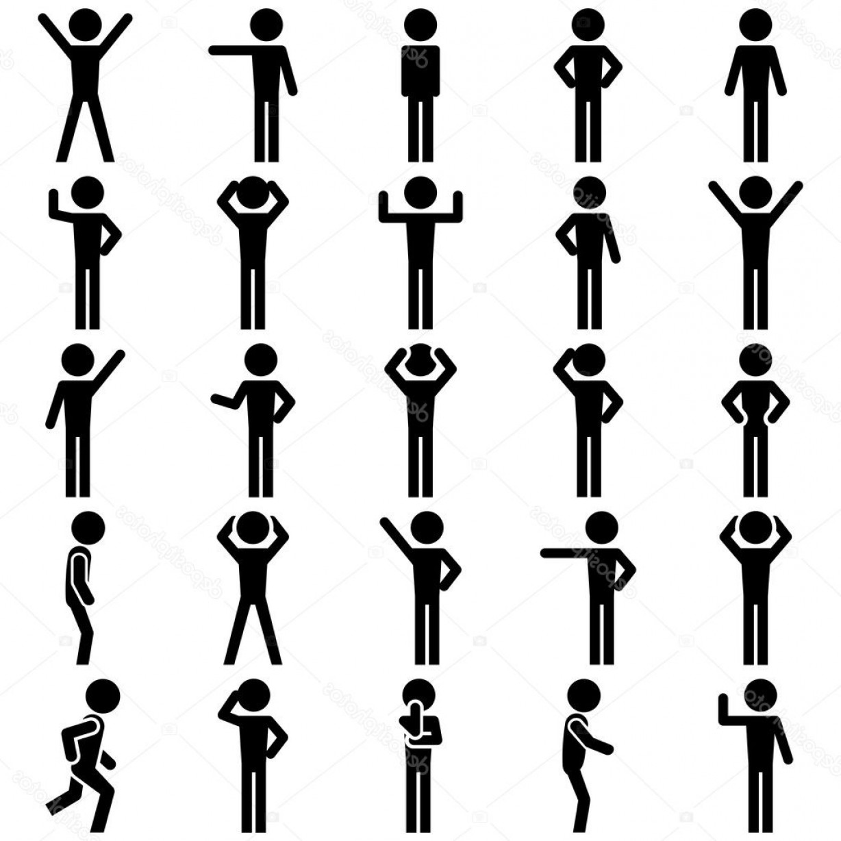 Stick Figure Positions Vector Set: Stock Illustration Stick Figure Positions Set Vector