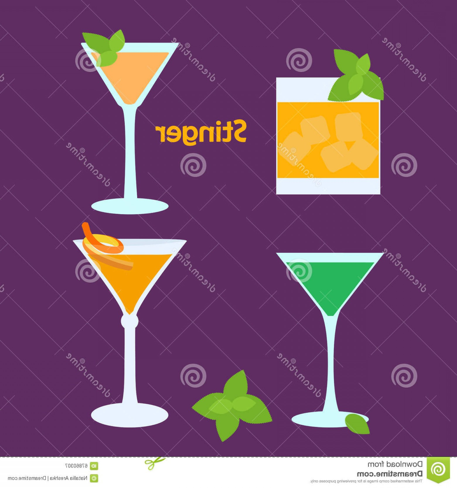 Cocktail Glasses Vector Art Decor: Stock Illustration Stinger Alcohol Cocktail Different Glasses Vector Illustration Bar Menu Restaurant Decoration Party Poster Image