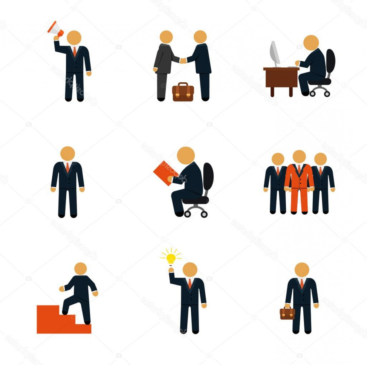 Free Vector Business People Icon: Stock Illustration Stock Vector Business People Flat