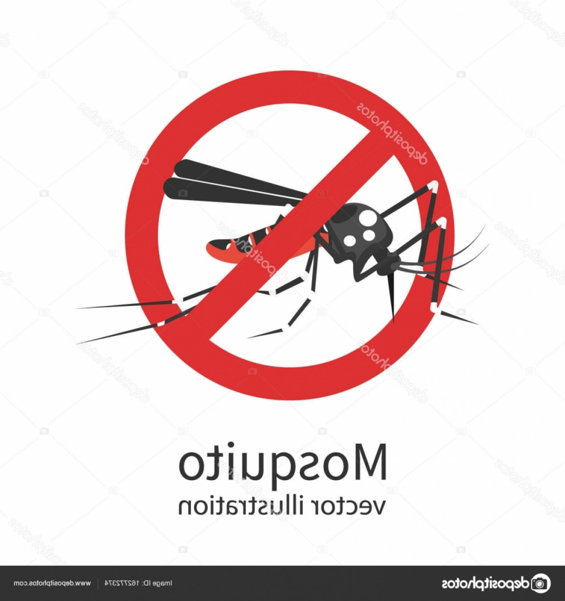 Vector Ban Plus Insecticide: Stock Illustration Stop Mosquito Vector Sign