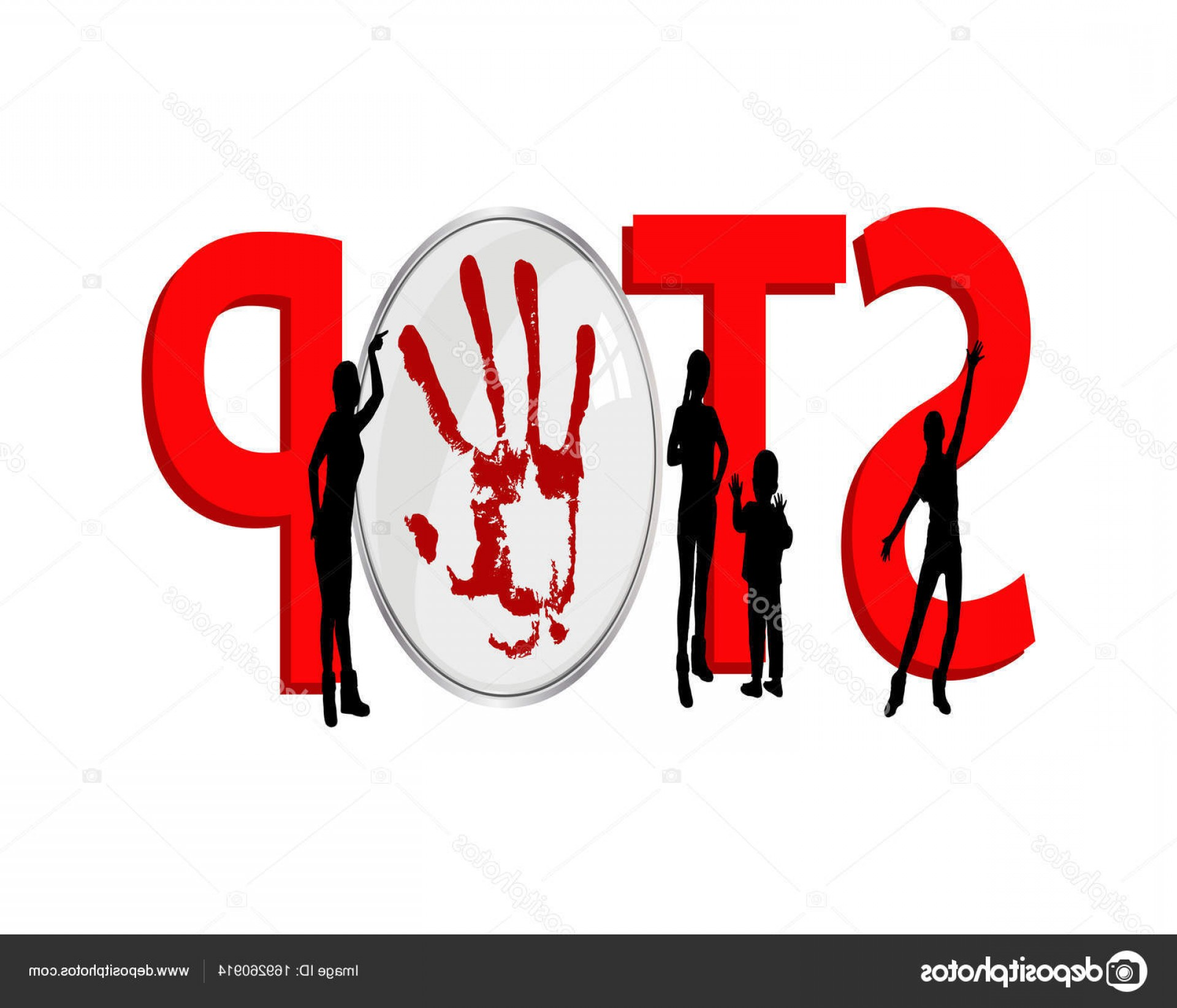 Violent Vector Art: Stock Illustration Stop Violence Against Women And