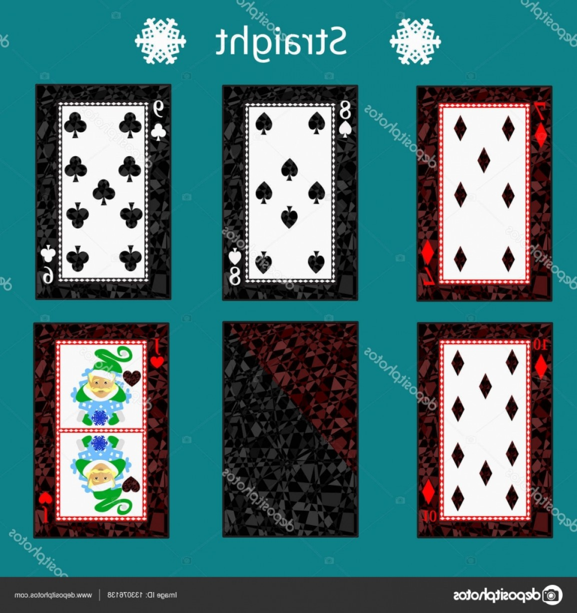 10 Playing Card Vector: Stock Illustration Straight Playing Card Poker Combination