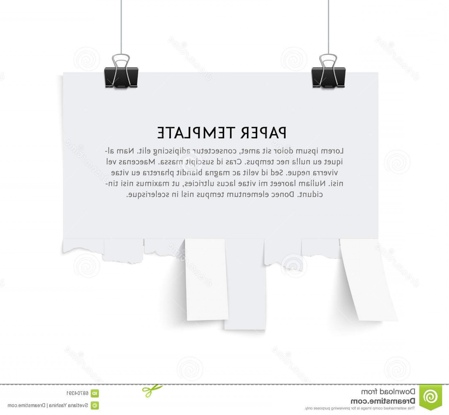 Vector Tear Away: Stock Illustration Street Advertisement Tear Off Stripes Paper Sheet Template Copy Space Template Isolated White Background Image