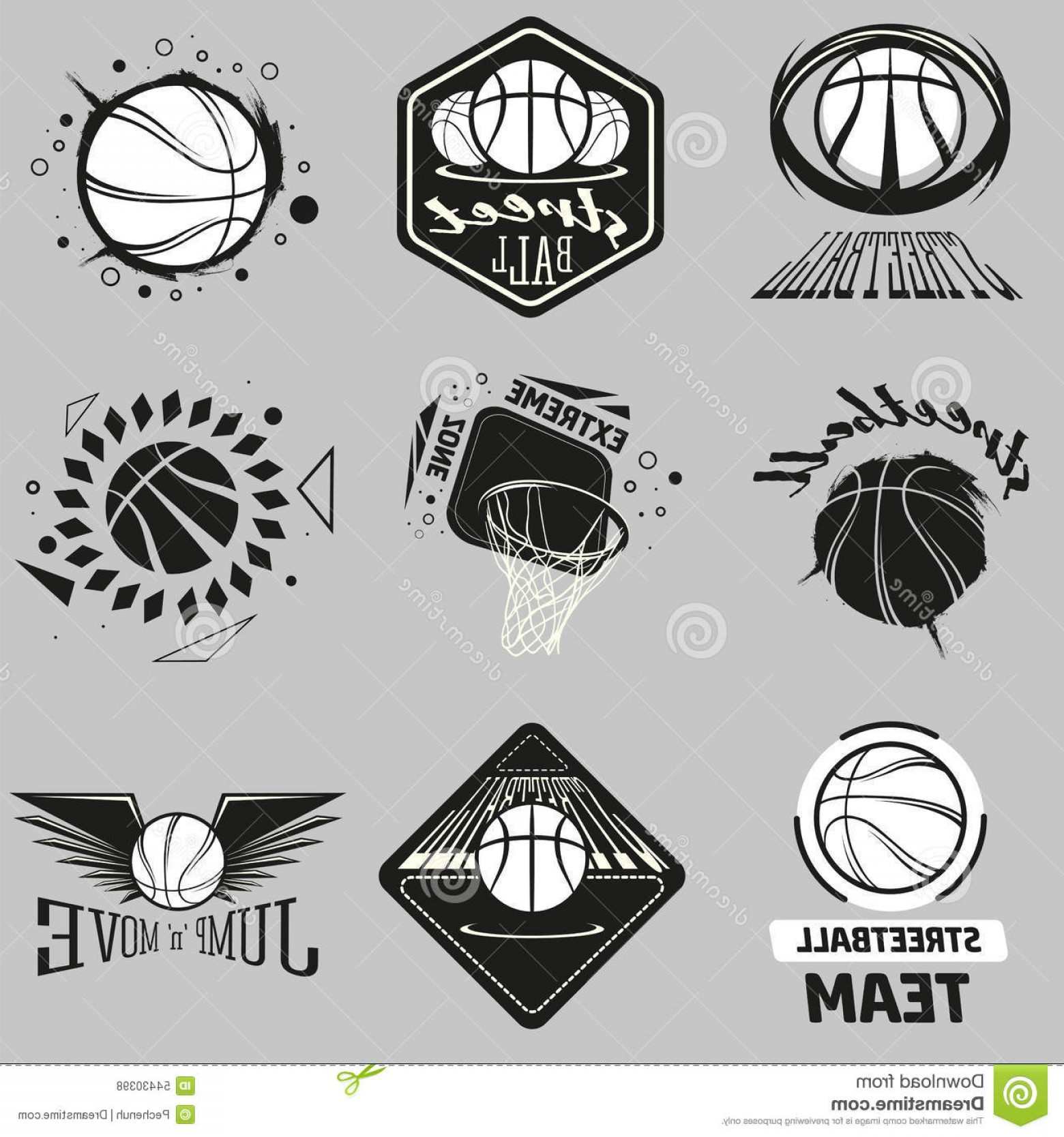 Vintage Basketball Vector: Stock Illustration Streetball Logo Set Basketball Icon Ball Basket Modern Vintage Styles Stock Vector Image