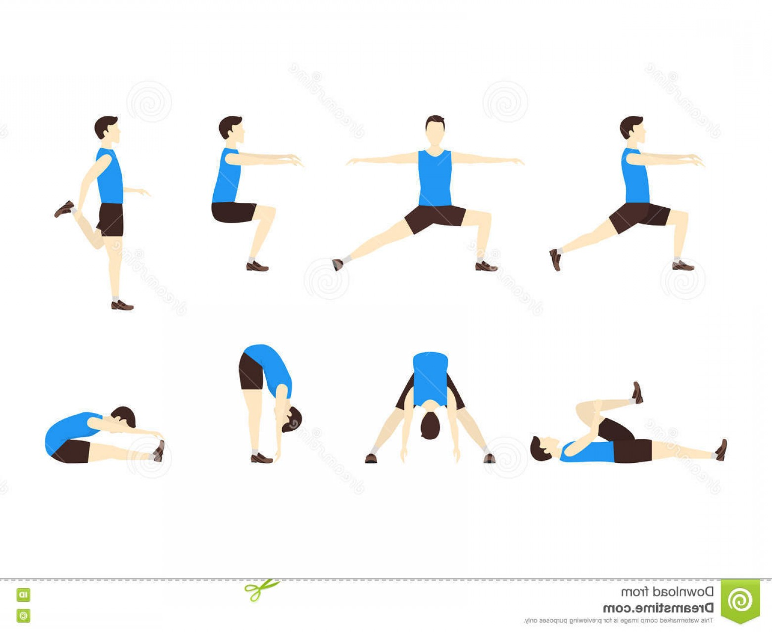 Man Vector Exercise: Stock Illustration Stretching Exercise Set Man Flat Vector Design Style Sports Fitness Health Illustration Image
