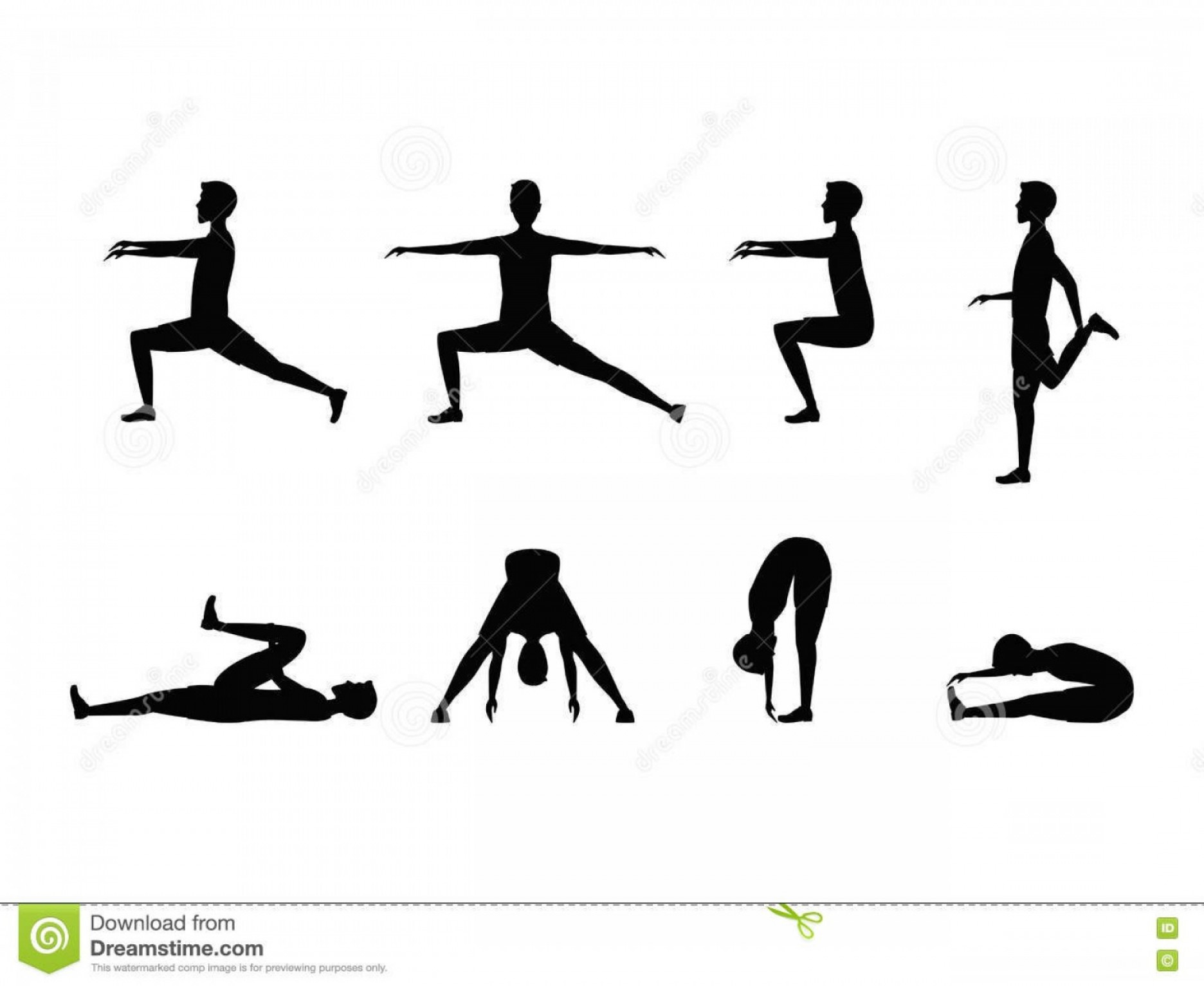 Man Vector Exercise: Stock Illustration Stretching Exercise Set Silhouette Man Vector Sports Fitness Health Illustration Image