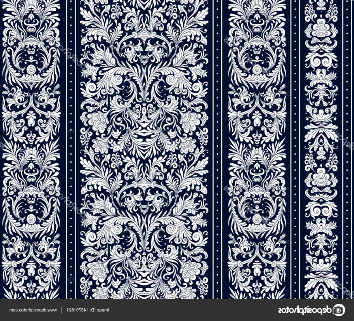 Damask Background Vector Art: Stock Illustration Striped Seamless Pattern On Baroque