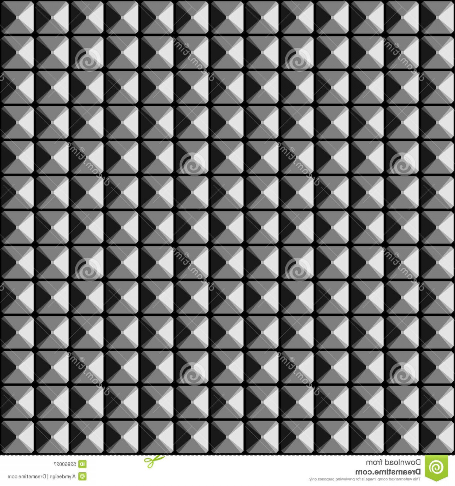 Pyramid Stud Vector: Stock Illustration Studded Surface Seamless Pattern Grayscale Image