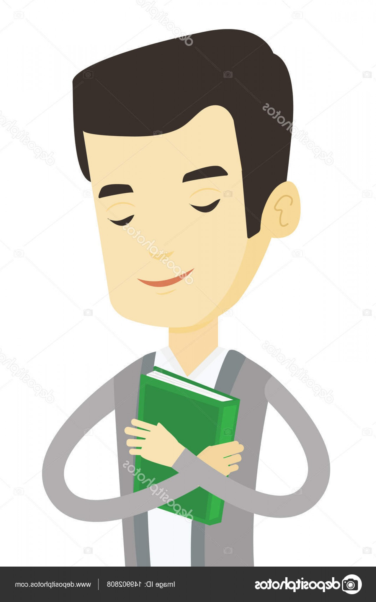 Asian Student Vector: Stock Illustration Student Hugging His Book Vector