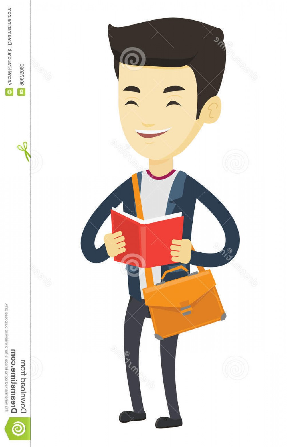 Asian Student Vector: Stock Illustration Student Reading Book Vector Illustration Asian Happy Preparing Exam Standing Hands Education Image