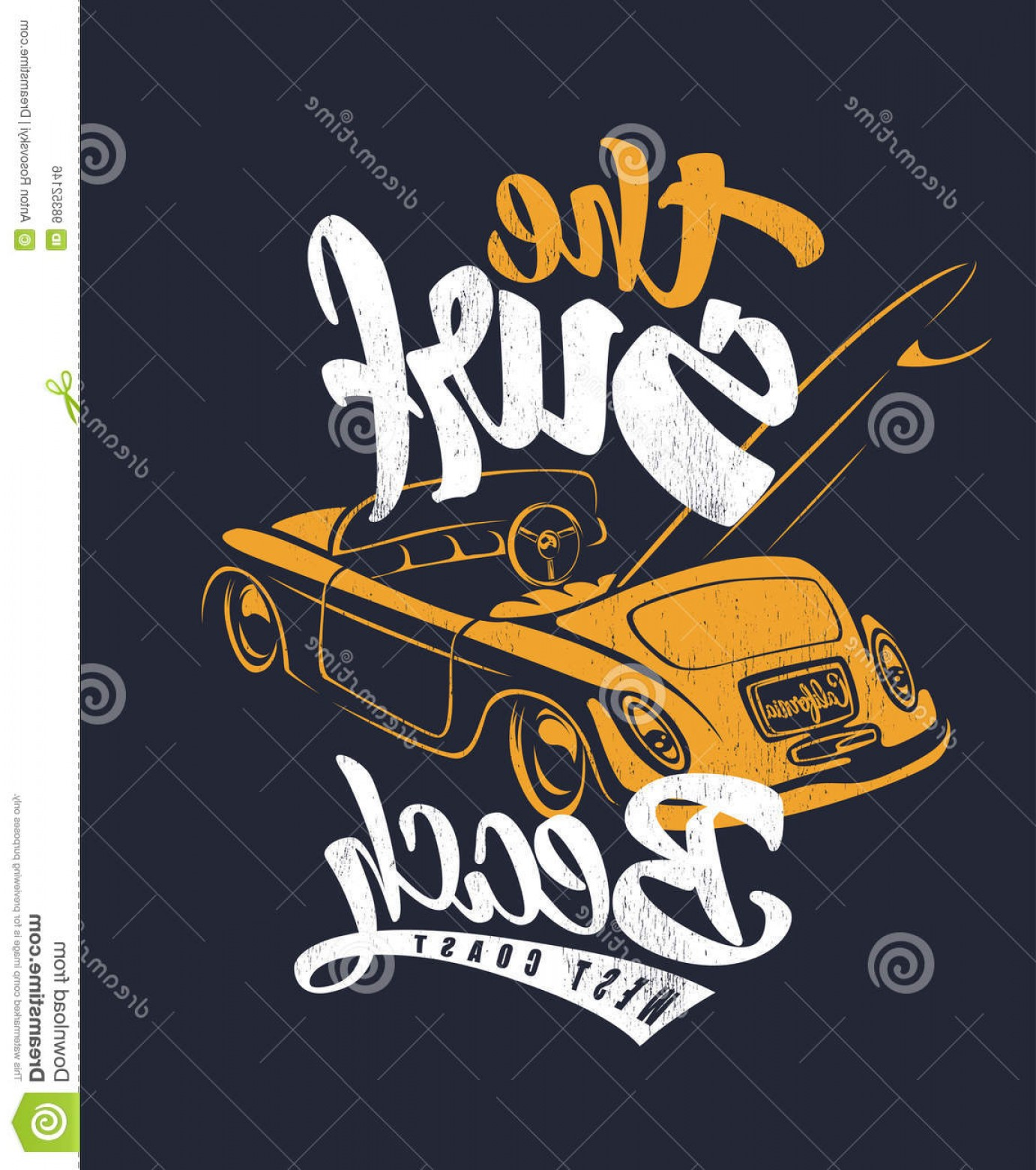 California Lifestyle Vector: Stock Illustration Summer Surf Print Car Lettering Vector Illustartion Image