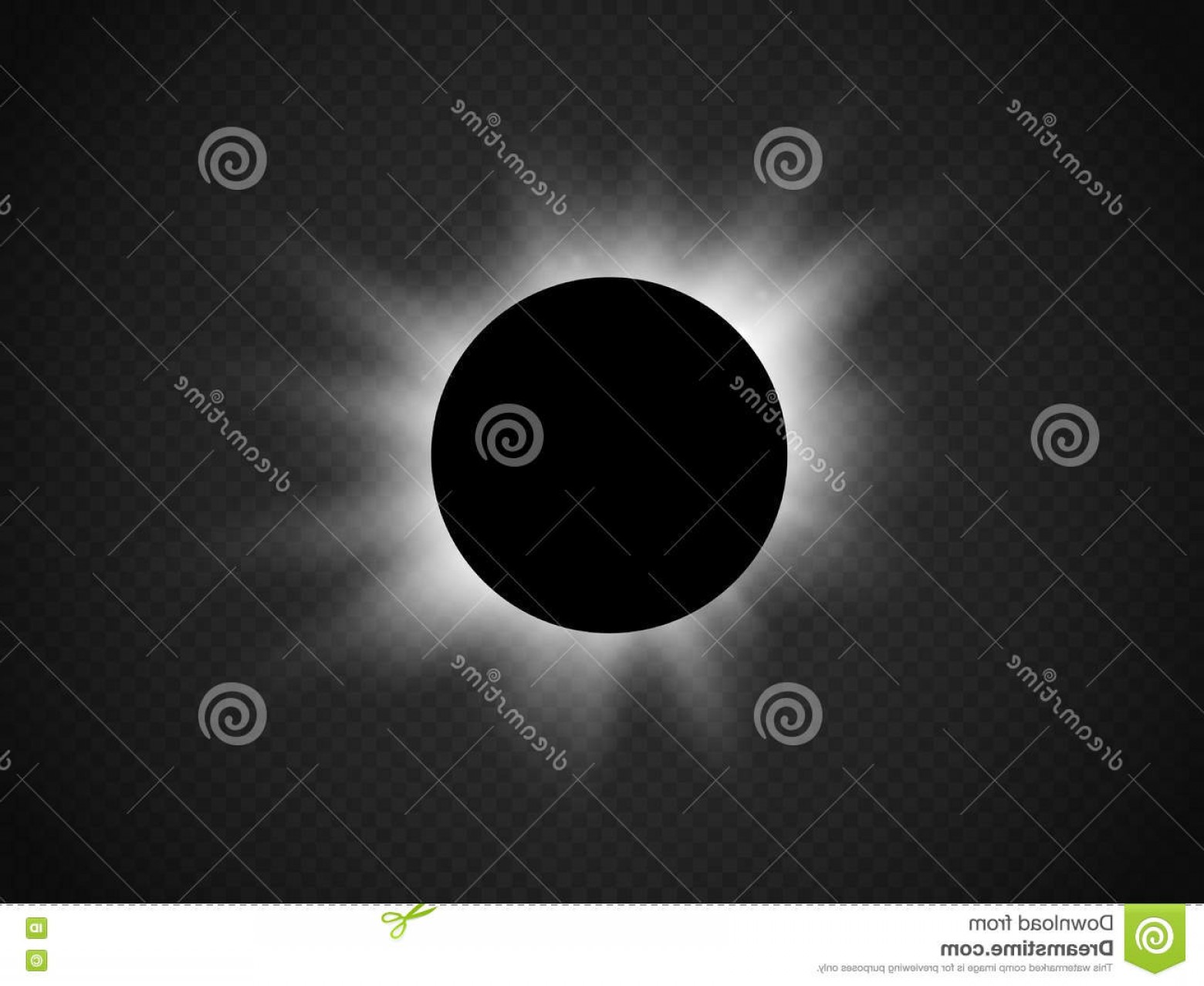 Whitew Eclipse Vector: Stock Illustration Sun Eclipse Isolated Transparent Background Vector Illustration Image