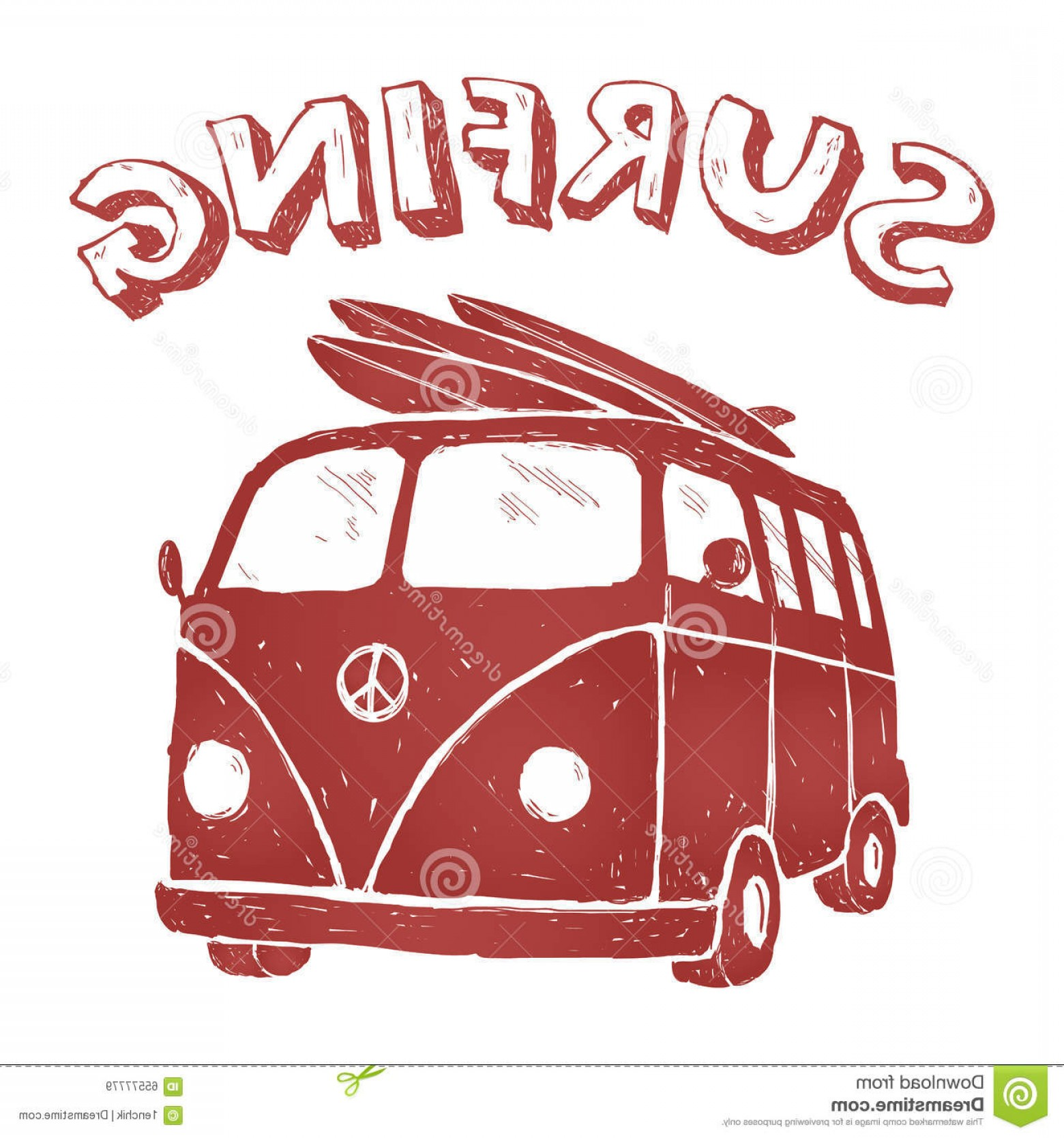 California Lifestyle Vector: Stock Illustration Surf Van Illustration T Shirt Graphics Vectors Typography Red Car Image