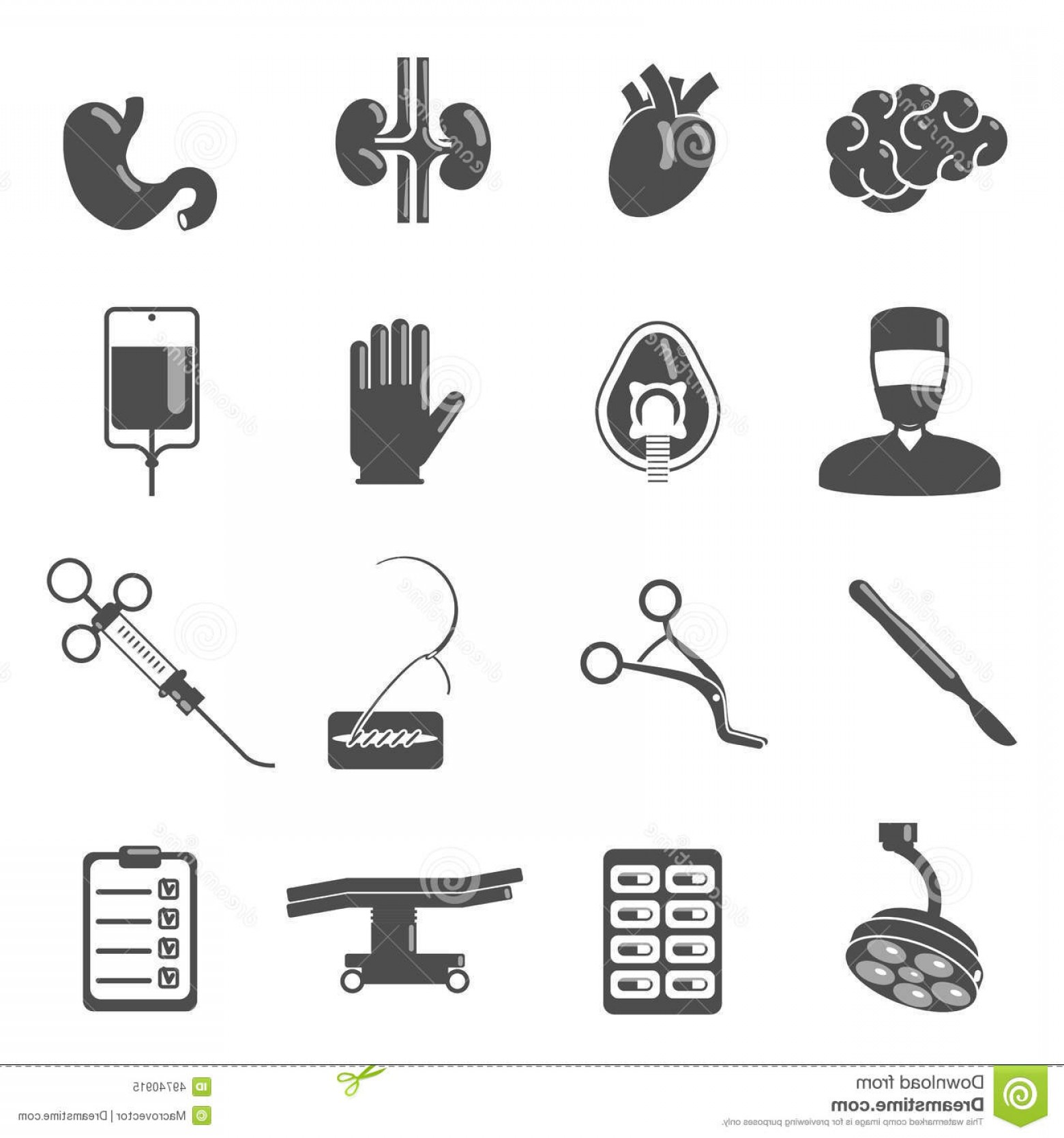 Surgery Icon Vector: Stock Illustration Surgery Icons Black Set Brain Blood Stomach Scalpel Isolated Vector Illustration Image