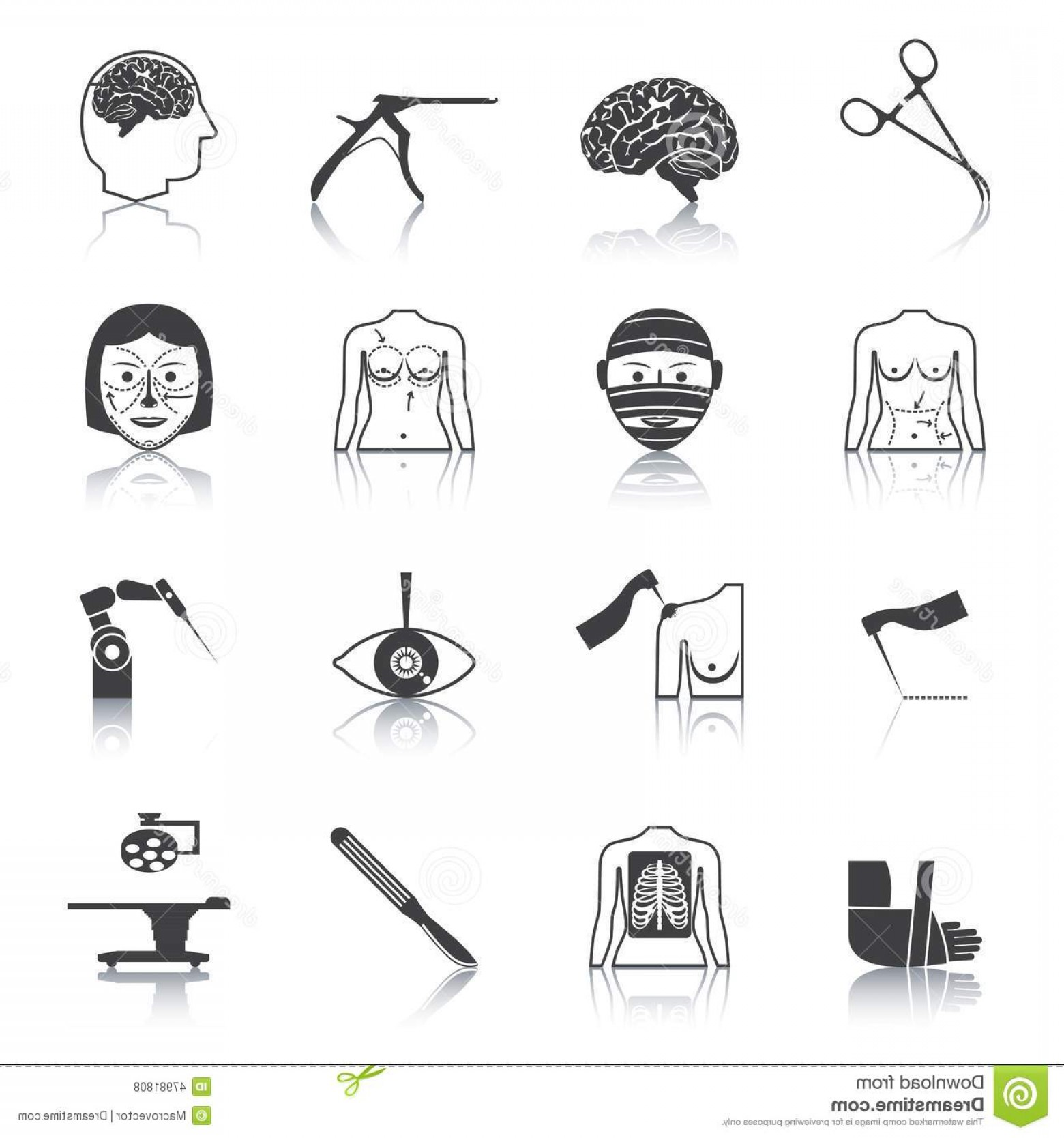 Surgery Icon Vector: Stock Illustration Surgery Icons Mono Vector Symbols Image