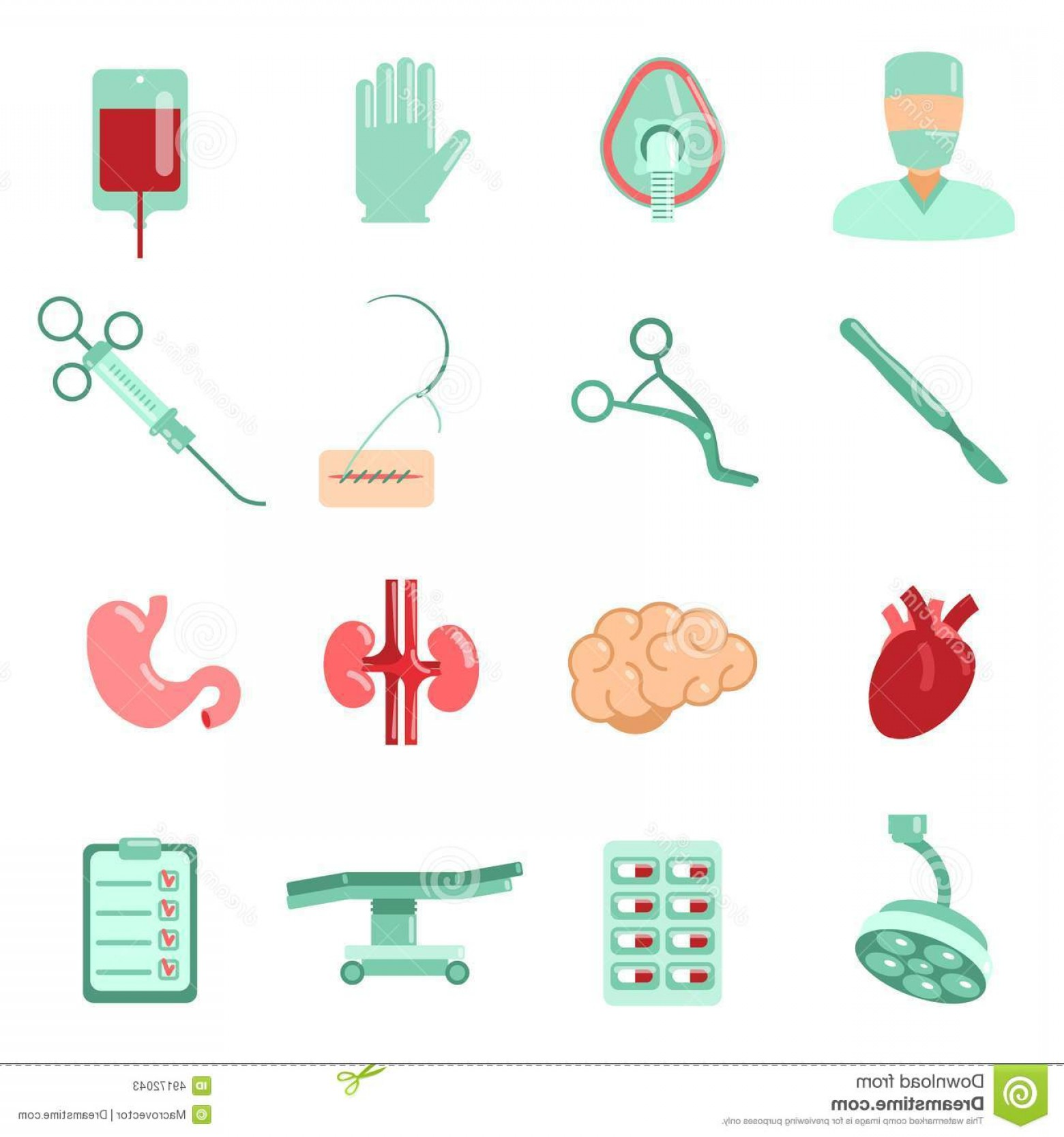 Surgery Icon Vector: Stock Illustration Surgery Icons Set Aesthetic Plastic Operation Hospital Isolated Vector Illustration Image