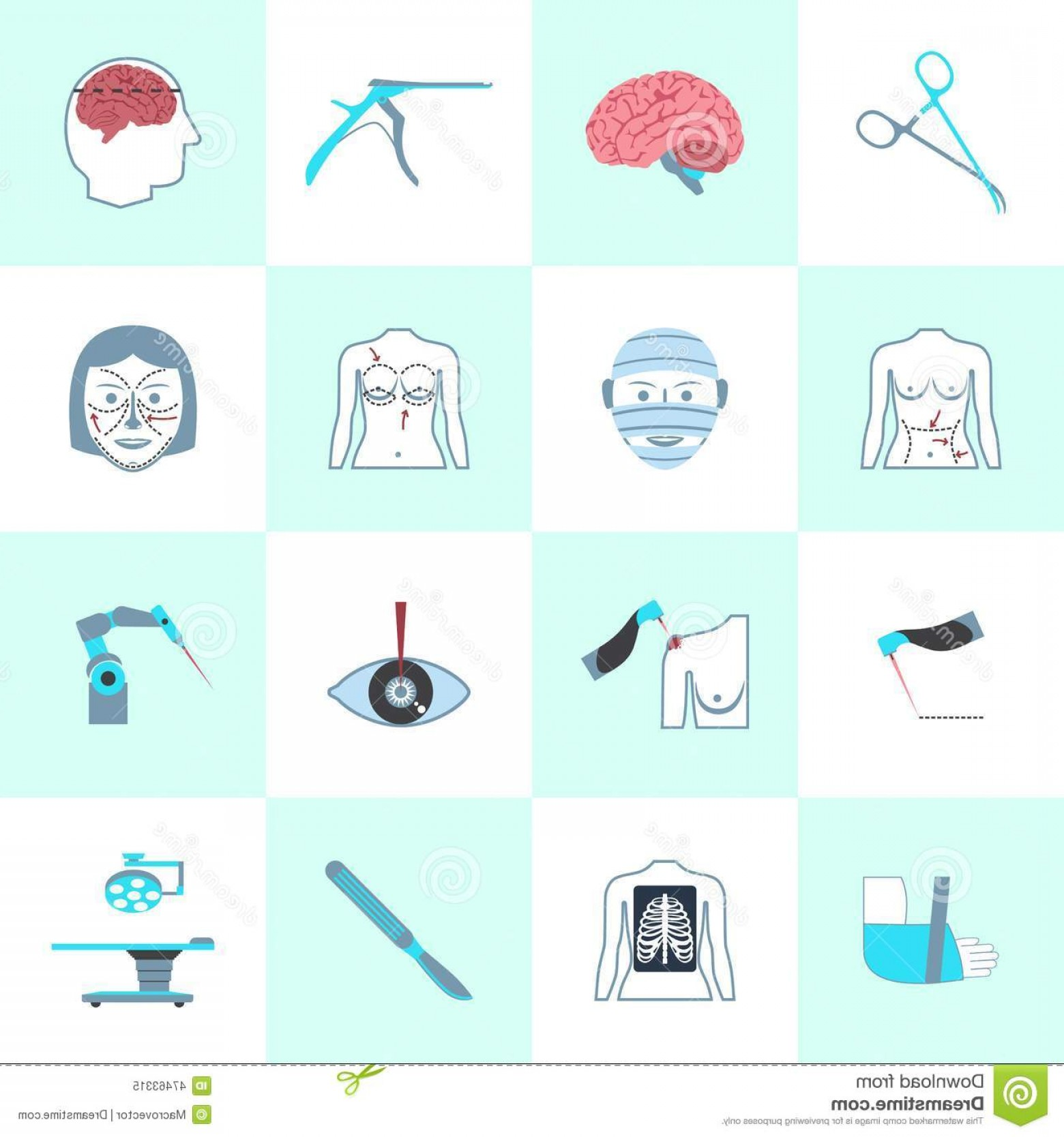 Surgery Icon Vector: Stock Illustration Surgery Icons Set Medical Operation Healthcare Hospital Isolated Vector Illustration Image