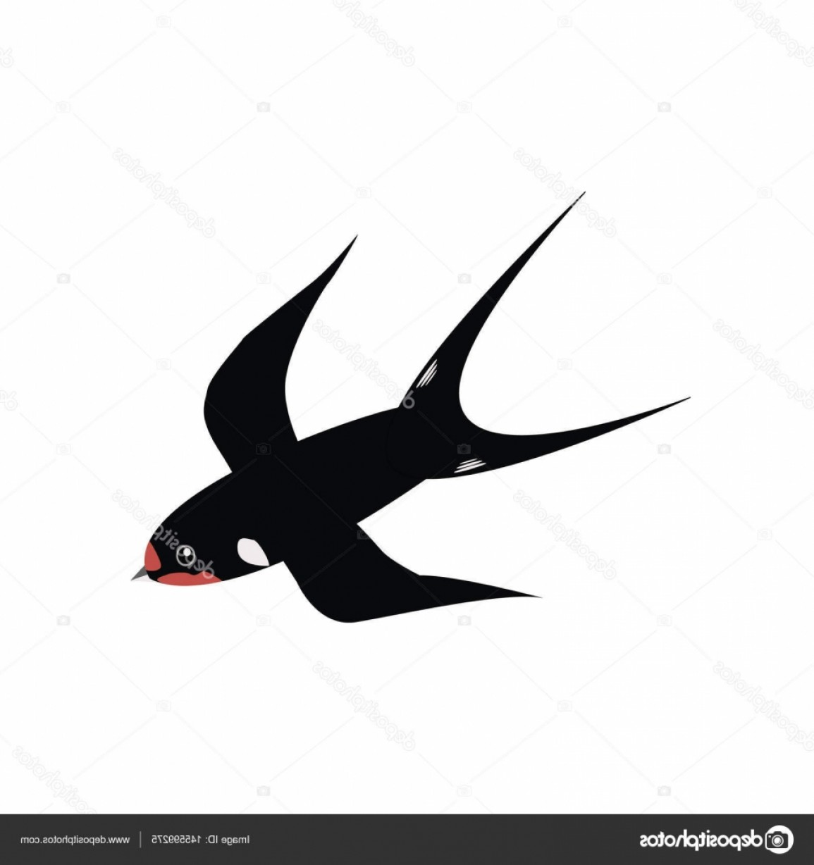 Swallow Vector: Stock Illustration Swallow Icon Flat Swallow Vector