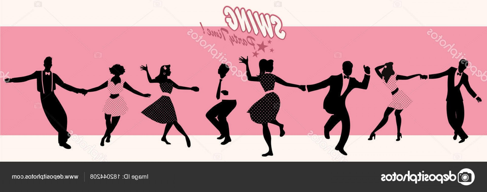 Vector Swing Dancers: Stock Illustration Swing Party Time Silhouettes Of