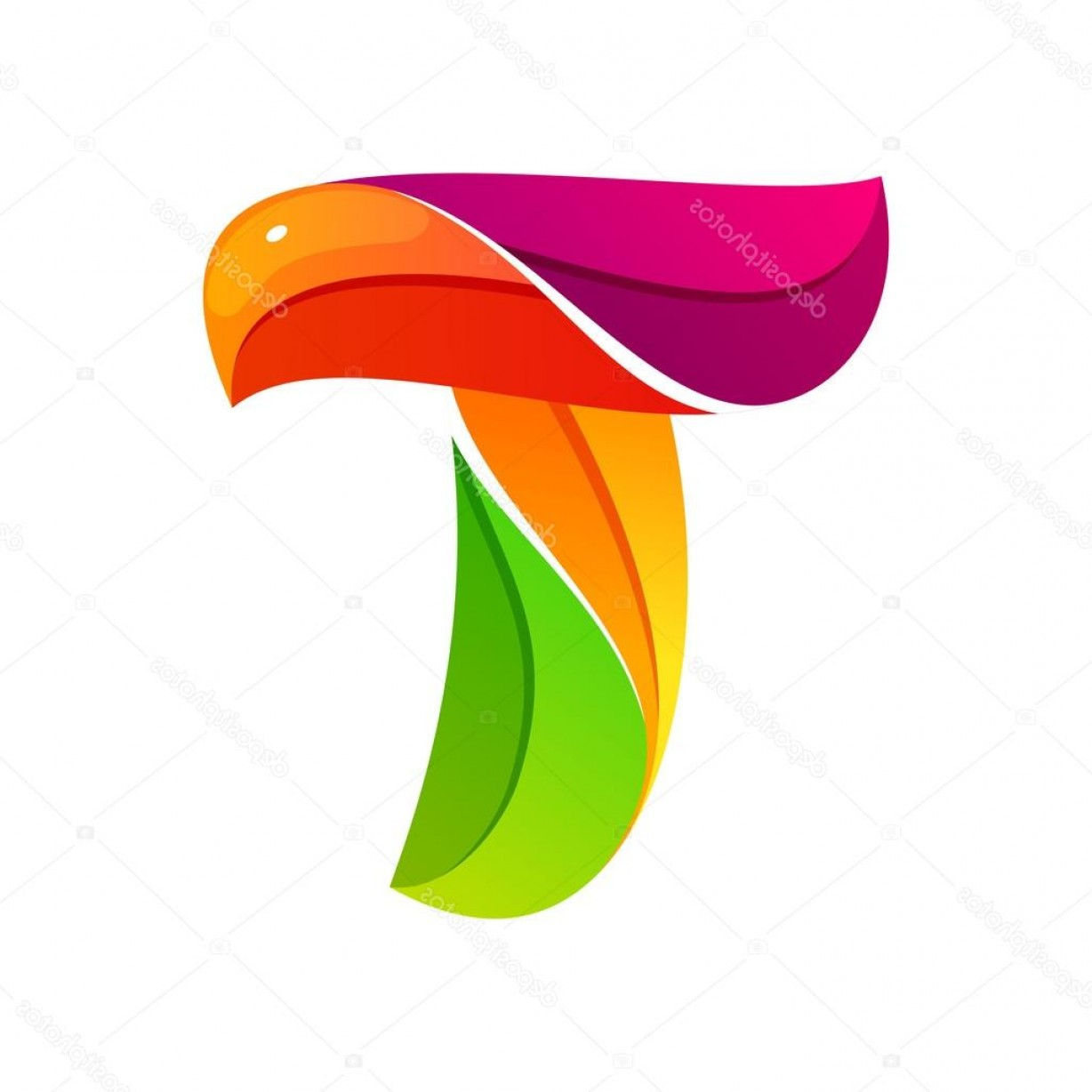 T Vector: Stock Illustration T Letter Logo Formed By