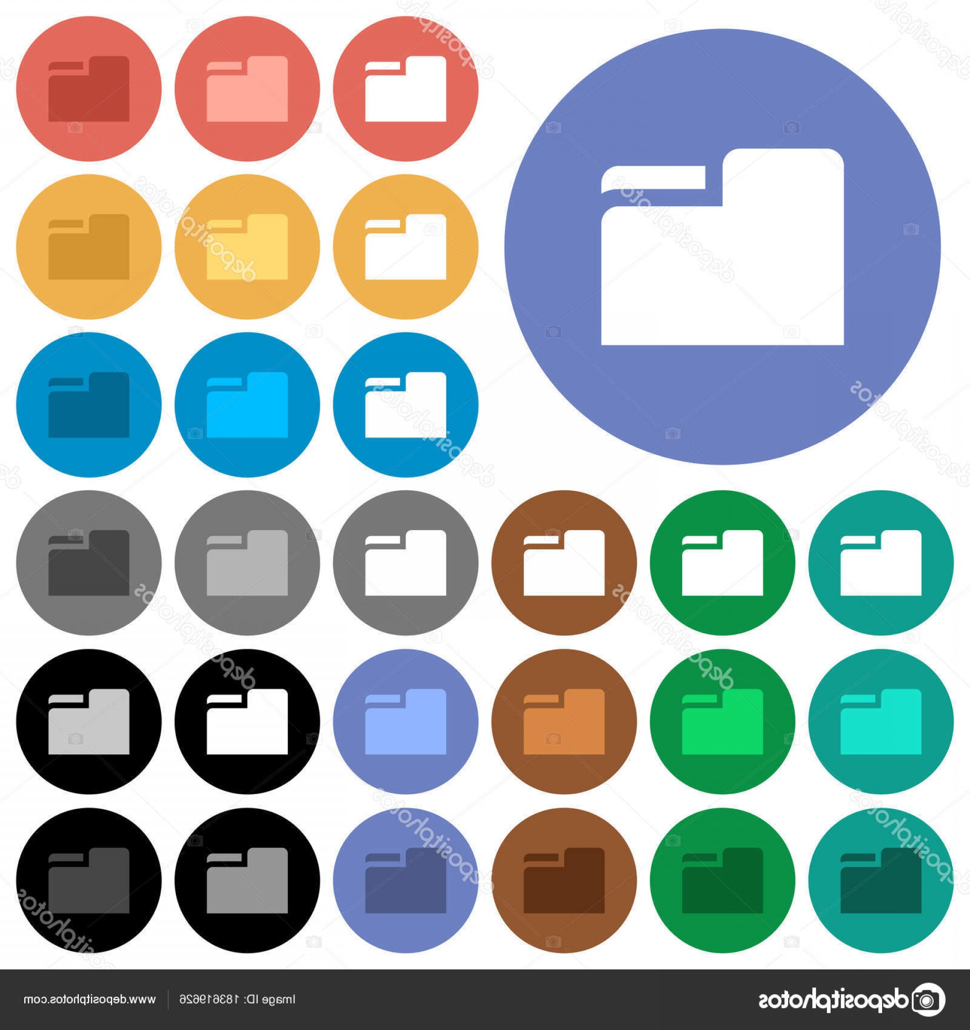 Folder Tab Vectors: Stock Illustration Tab Folder Round Flat Multi