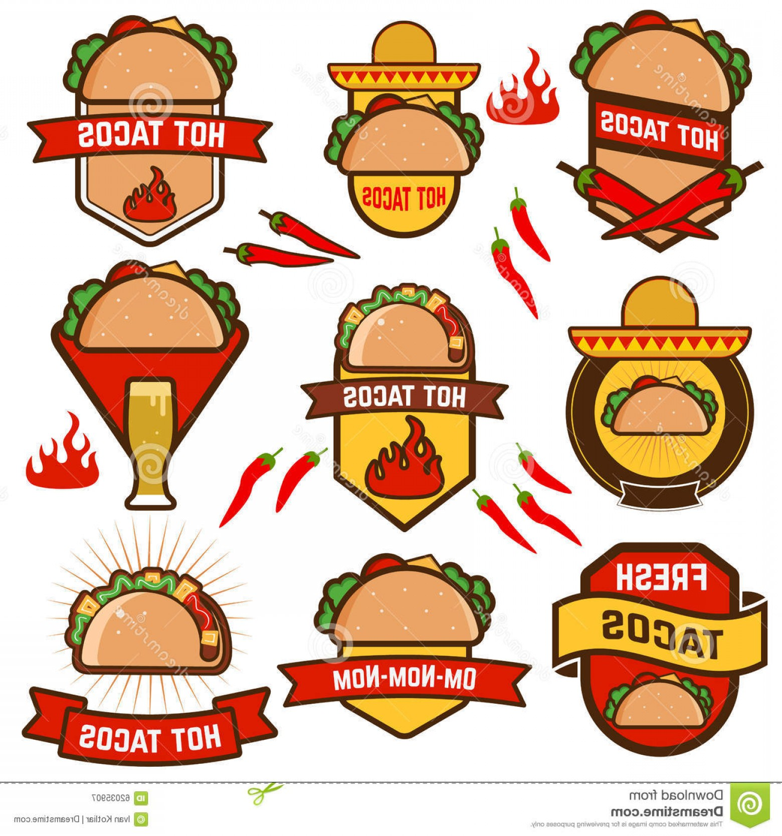 Vector Mexican Tacos: Stock Illustration Tacos Set Mexican Taco Design Elements Labels Badges Icons Mexican Food Design Template Vector Illustration Image