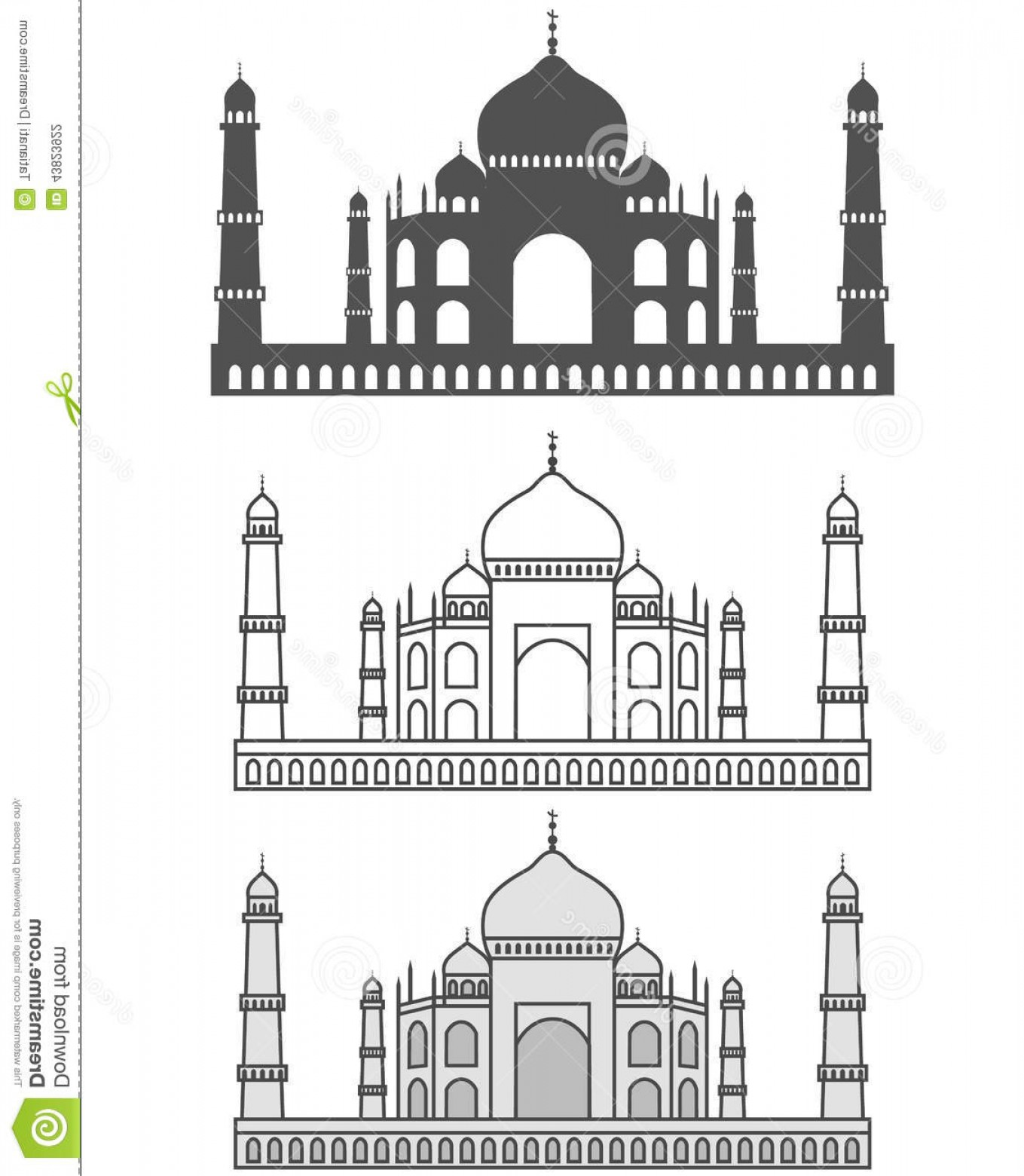 Taj Mahal Vector: Stock Illustration Taj Mahal Vector Illustration Silhouette Image