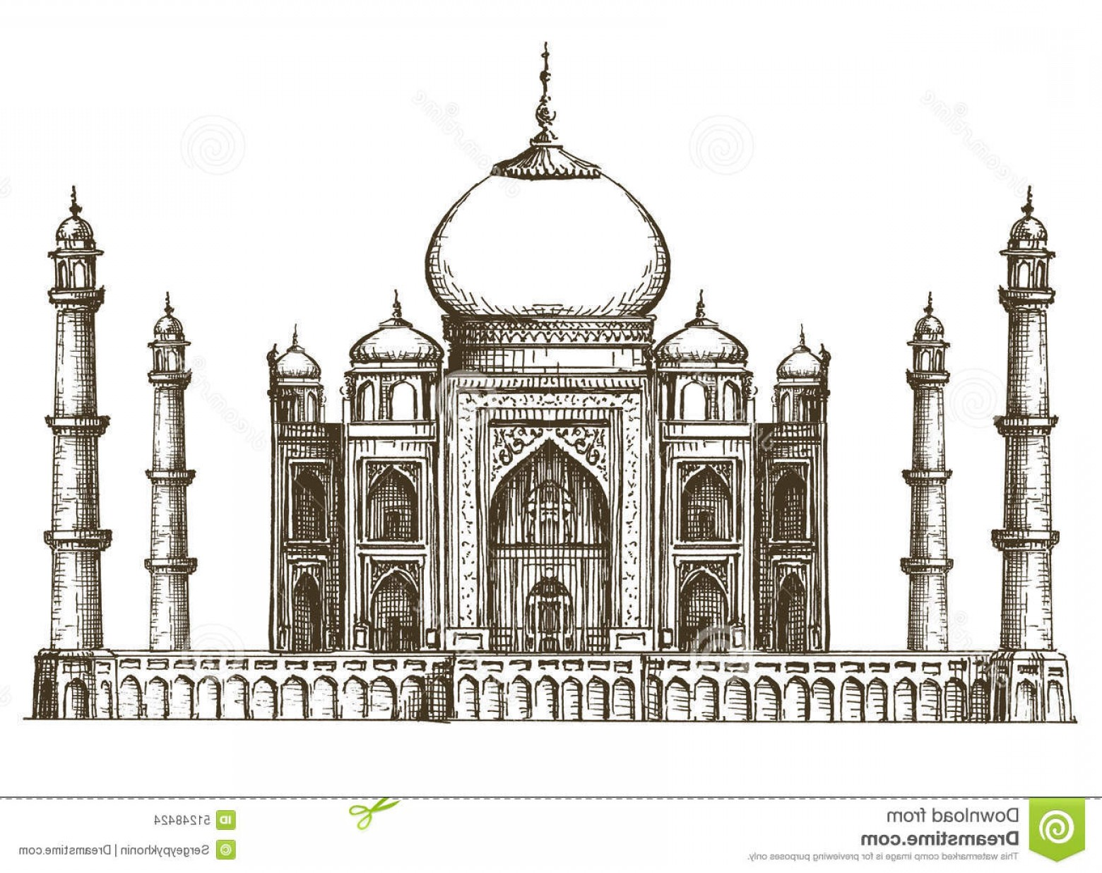 Taj Mahal Vector: Stock Illustration Taj Mahal Vector Logo Design Template India Sketch Architecture White Background Illustration Image