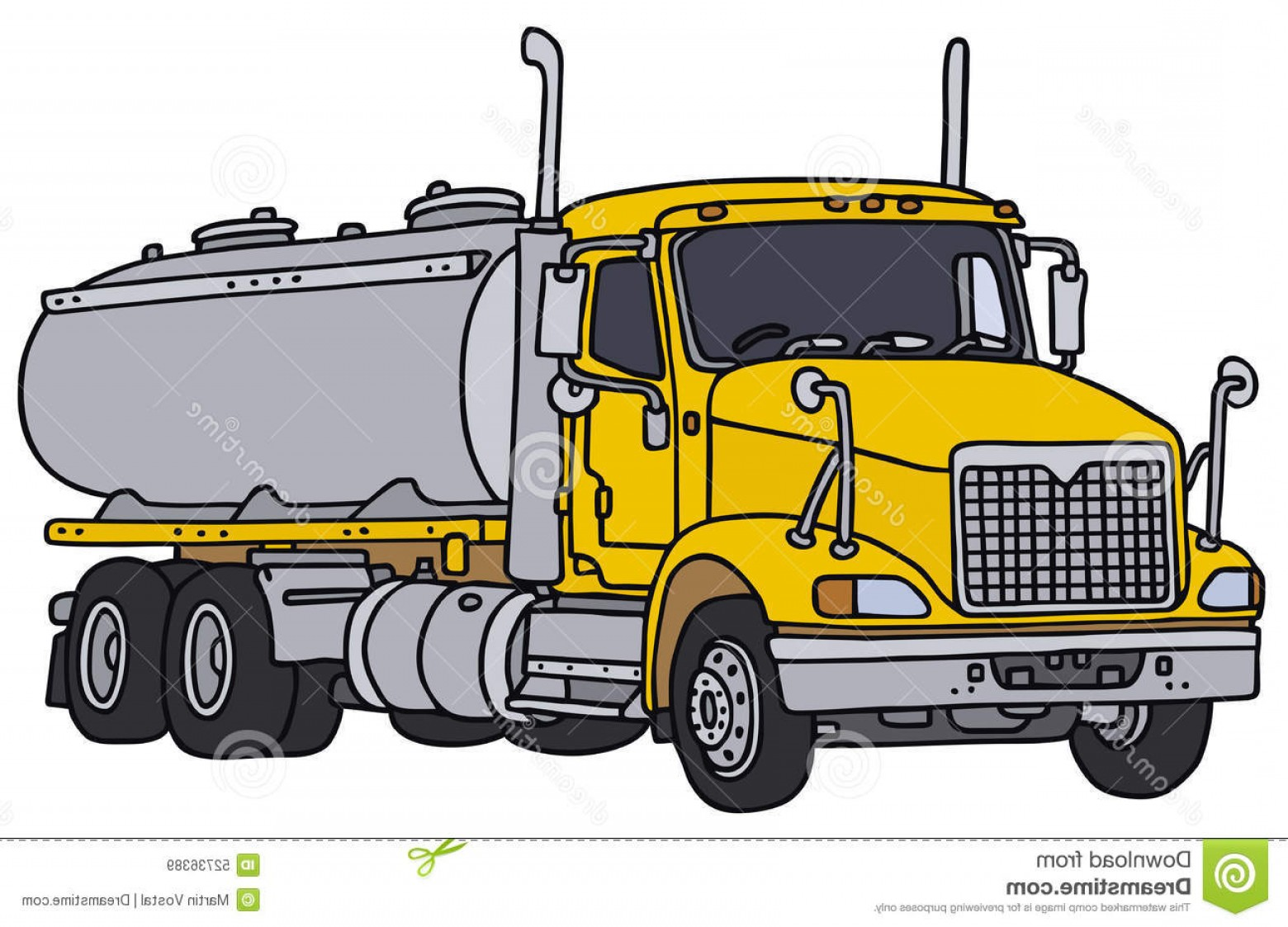 Vector Semi Tanker: Stock Illustration Tank Truck Big Yellow American Vector Illustration Hand Drawing Image