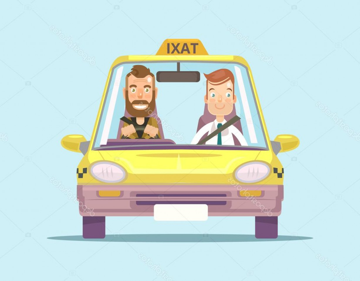 Vector Taxi Cab Driver: Stock Illustration Taxi Car And Taxi Driver