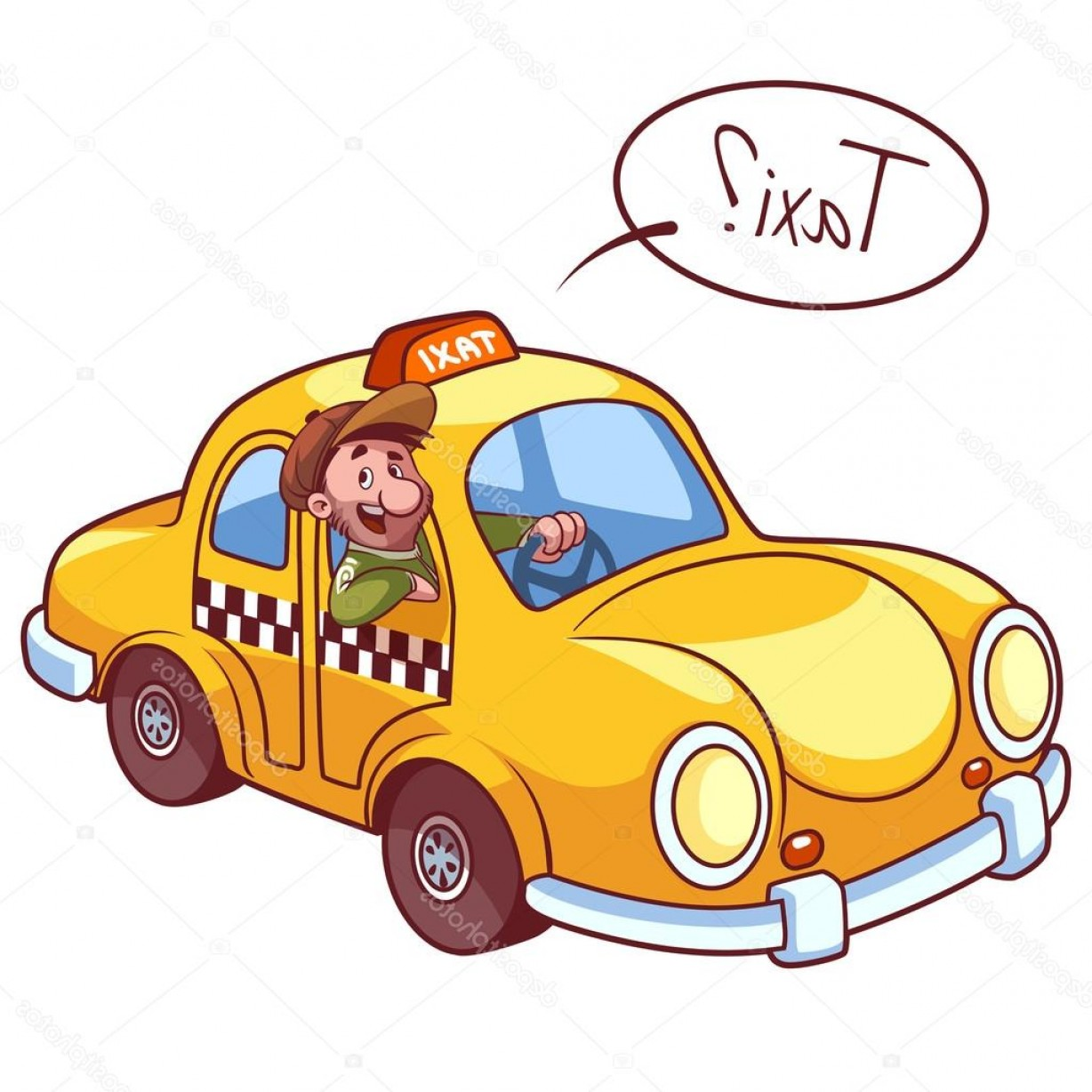 Vector Taxi Cab Driver: Stock Illustration Taxi Driver In The Car