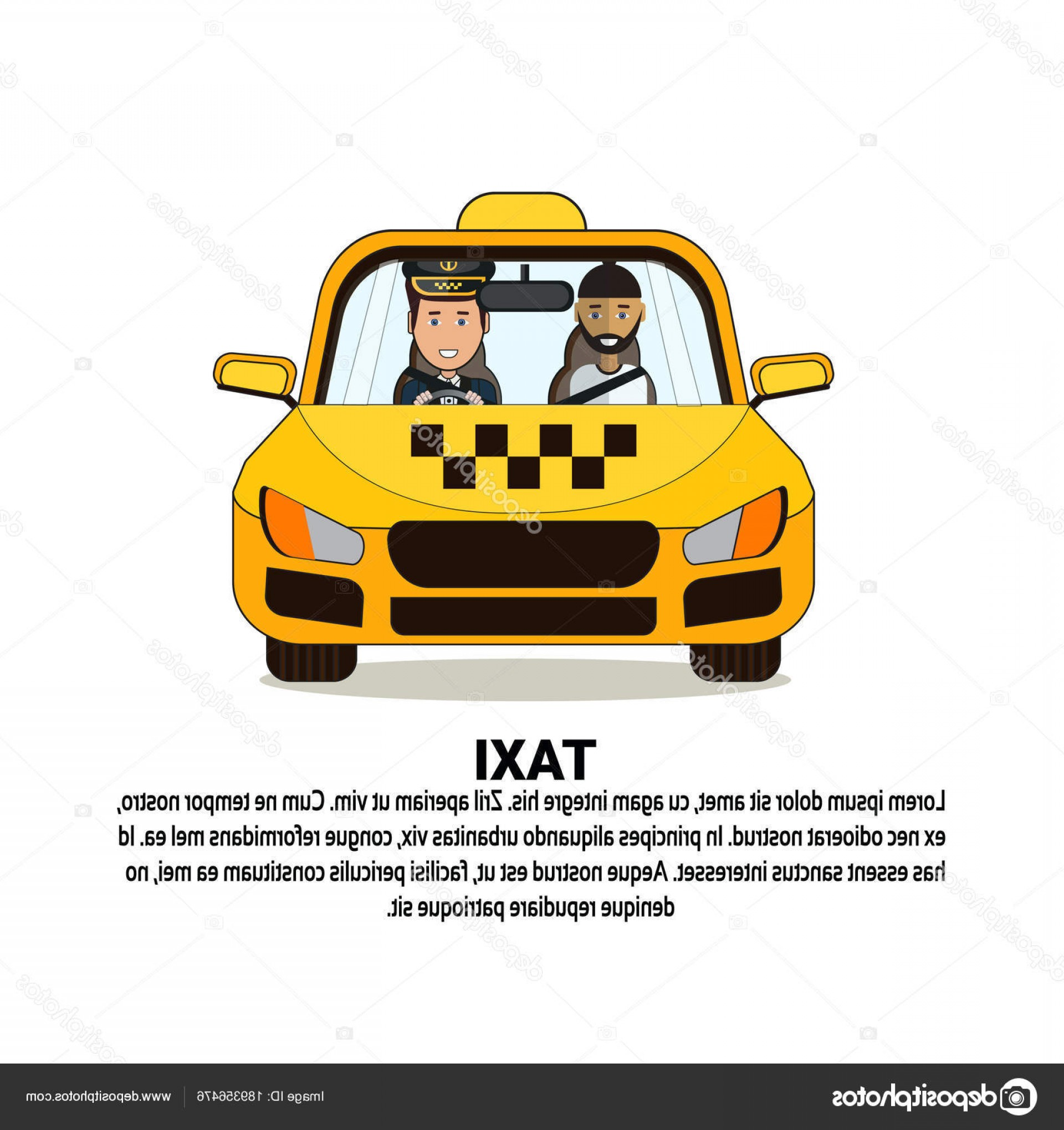 Vector Taxi Cab Driver: Stock Illustration Taxi Service Banner With Driver