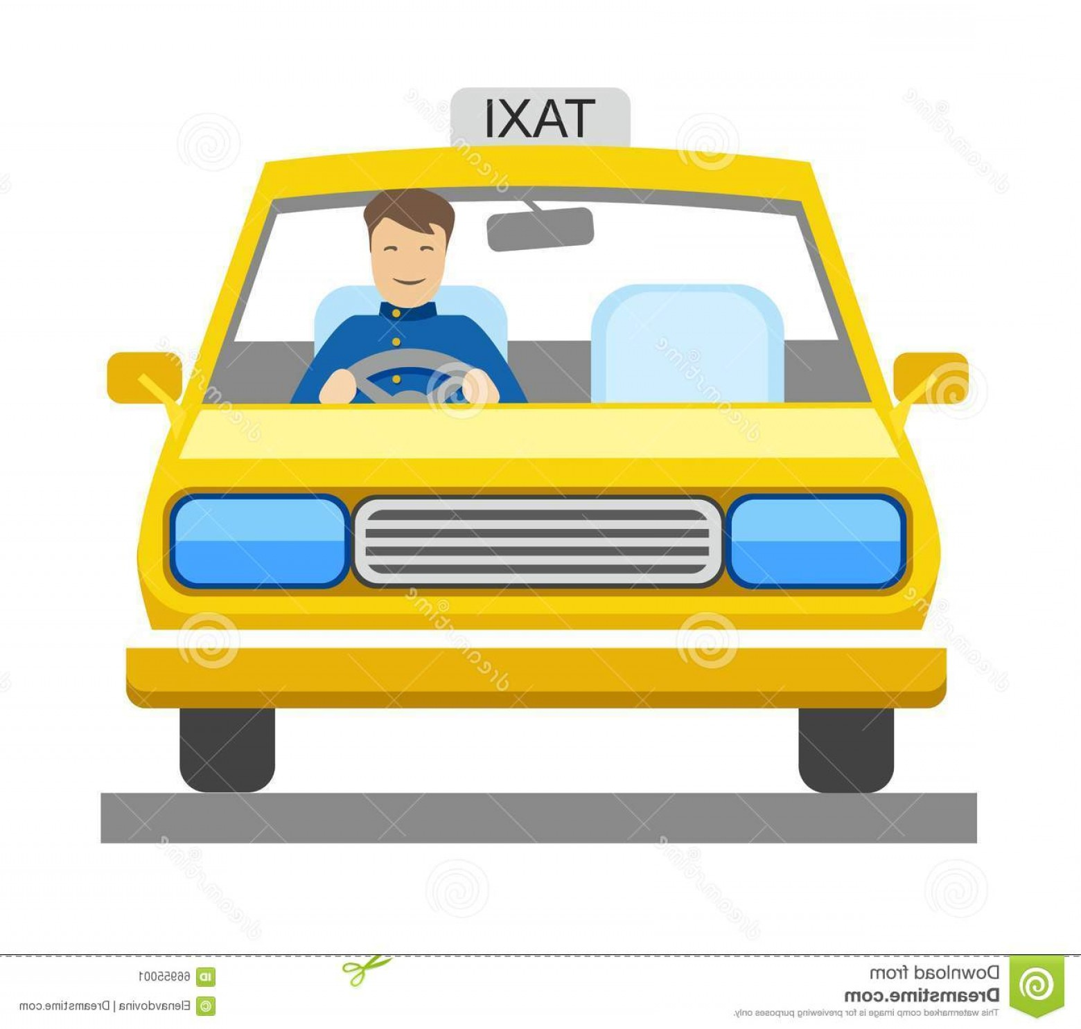 Vector Taxi Cab Driver: Stock Illustration Taxi Taxi Driver Color Illustration Yellow Car Sits Vector Picture Image