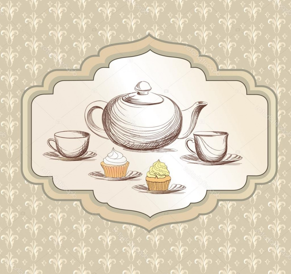 Vintage Tea Cup Vector: Stock Illustration Tea Cup Pastry And Kettle