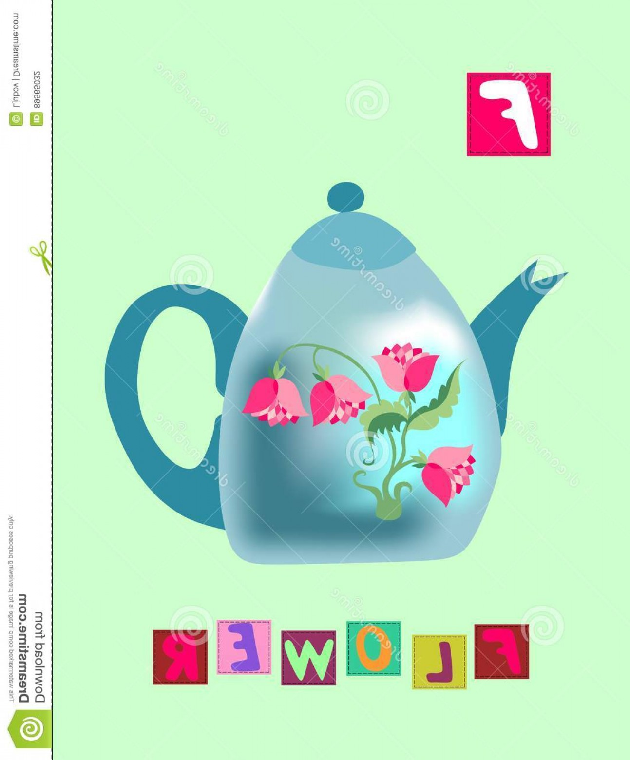 Vector ABC History: Stock Illustration Tea History Letter F Flower Cute Cartoon English Alphabet Colorful Image Word Kids Vector Abc Green Background Image