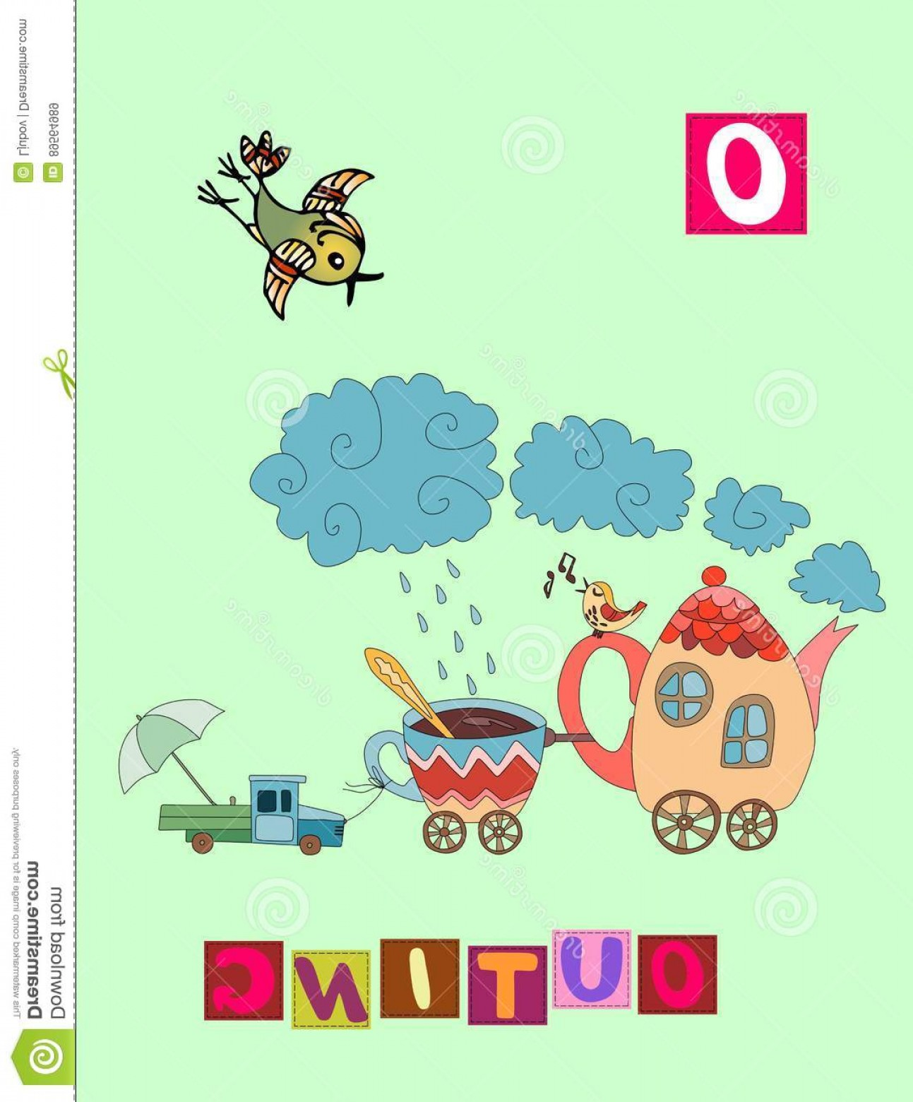 Vector ABC History: Stock Illustration Tea History Letter O Outing Cute Cartoon English Alphabet Colorful Image Word Kids Vector Abc Image