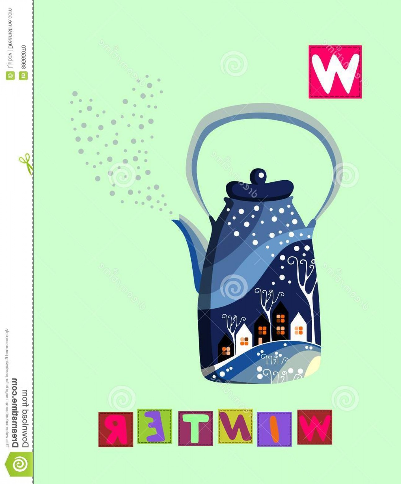 Vector ABC History: Stock Illustration Tea History Letter W Winter Cute Cartoon English Alphabet Colorful Image Word Kids Vector Abc White Background Image