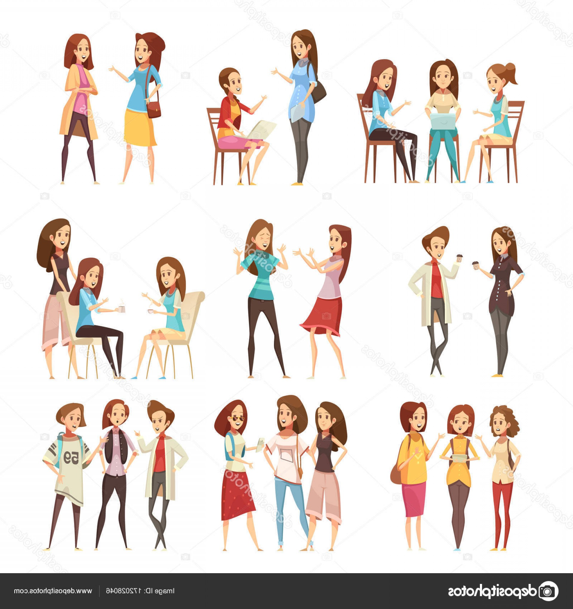 Teenage Icons Vector: Stock Illustration Teenage Girls Groups Cartoon Icons