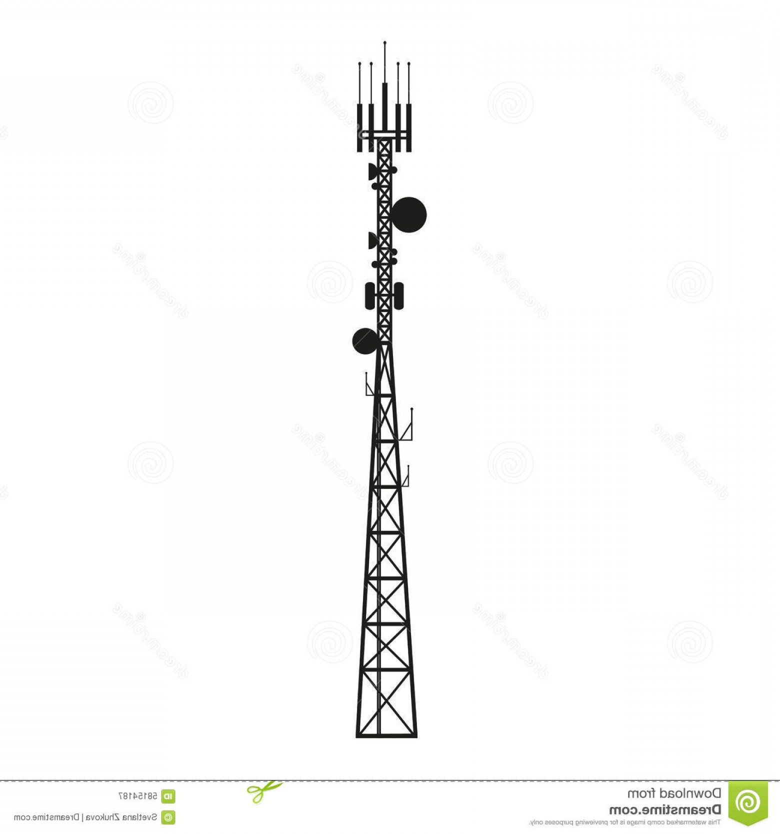 Vector Phone Tower: Stock Illustration Telecommunication Antenna Mast Mobile Tower Satellite Image