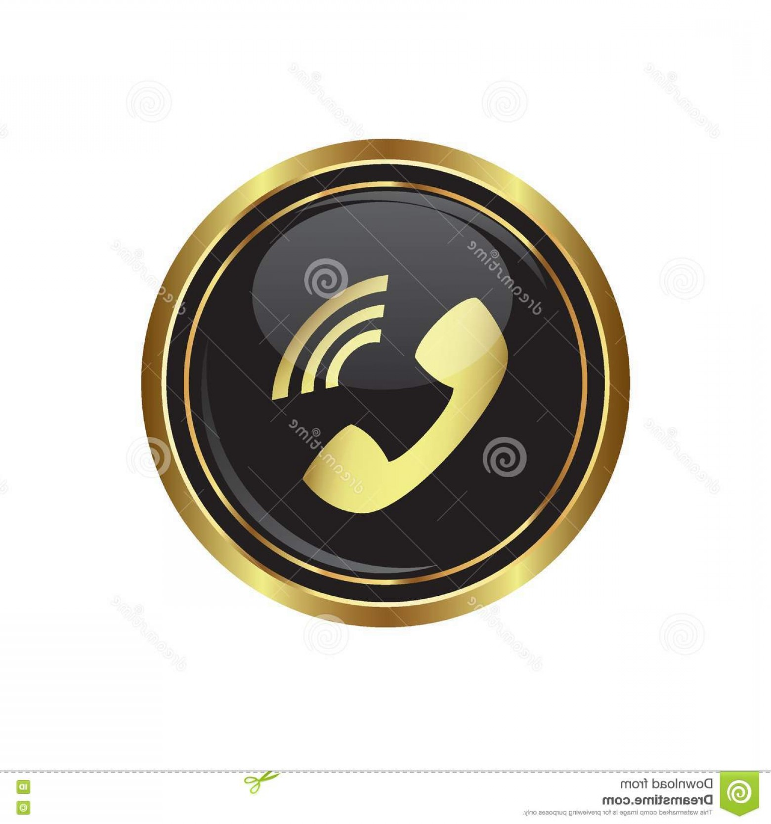 Gold Button Vector: Stock Illustration Telephone Receiver Icon Black Gold Round Button Vector Illustration Image