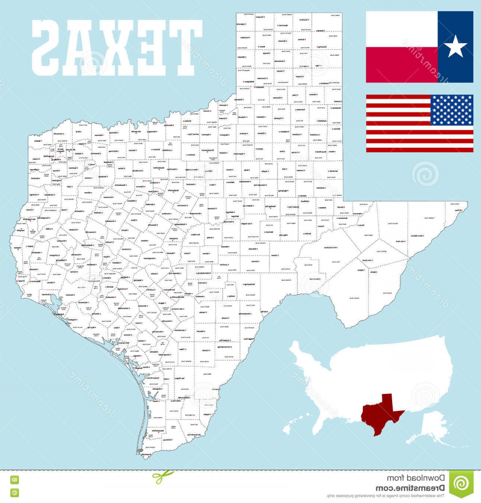 Texas Counties Map Vector: Stock Illustration Texas County Map Large Detailed State All Counties Seats Image