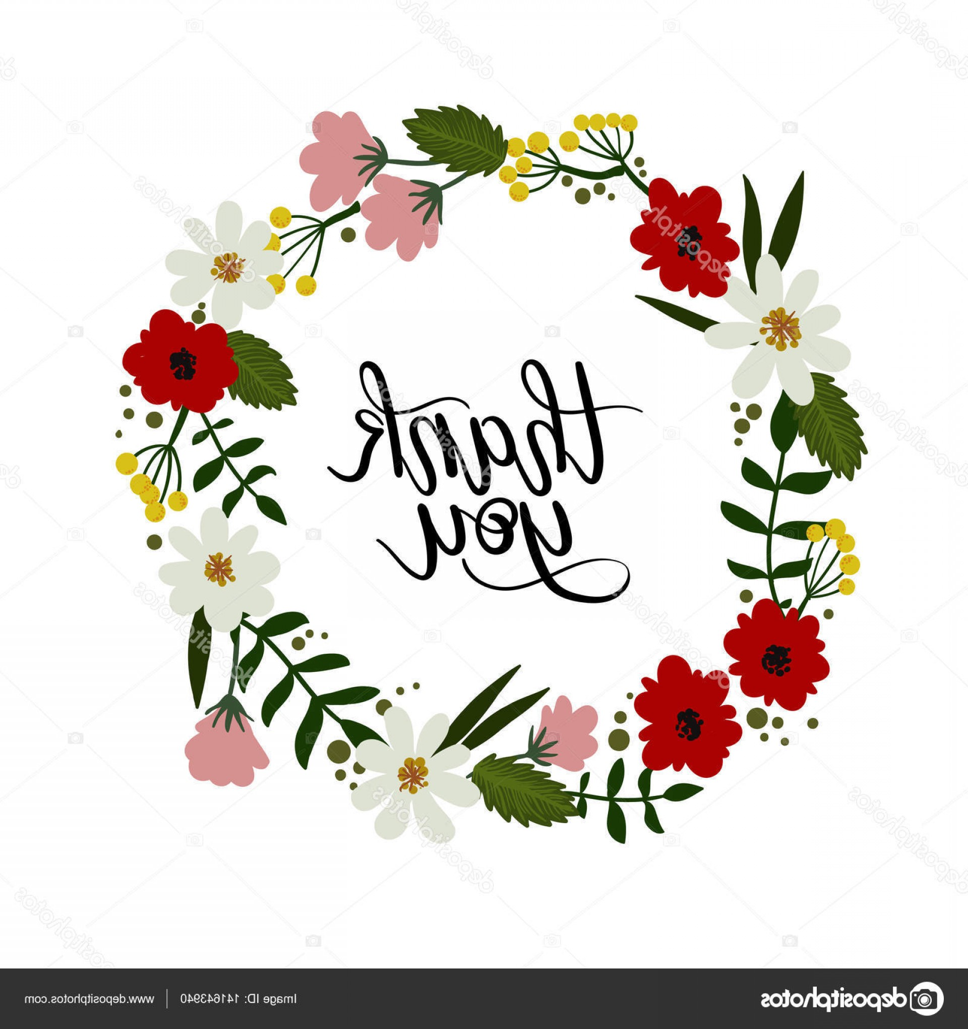Floral Vector Calligraphy: Stock Illustration Thank You Hand Lettering Card