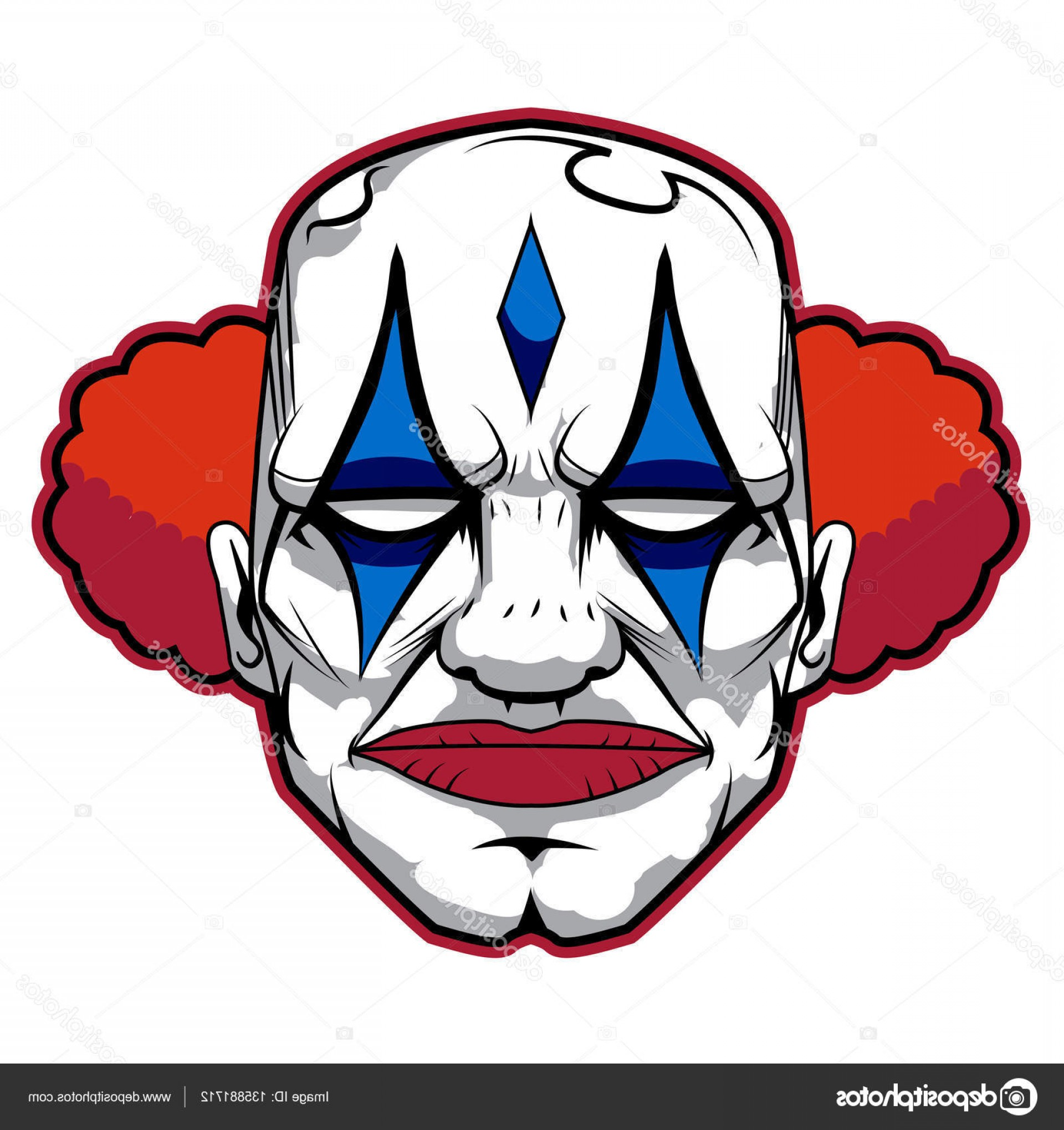 Creepy Clown Vector: Stock Illustration The Bad And Scary Clown