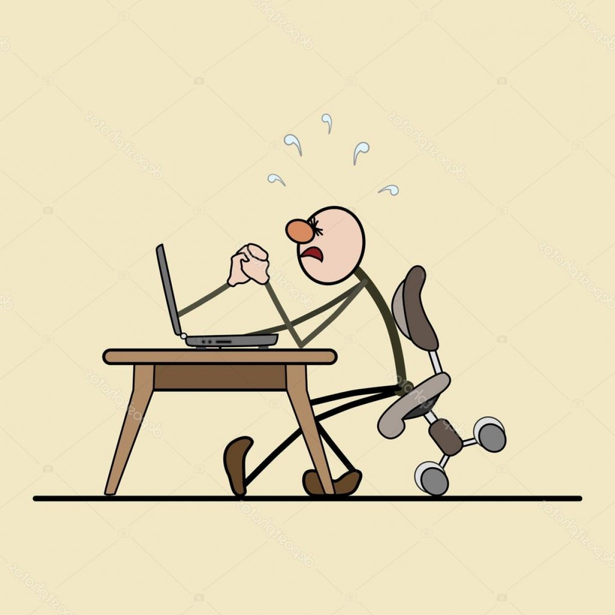 Smarter Vector Art: Stock Illustration The Struggle Of Man And